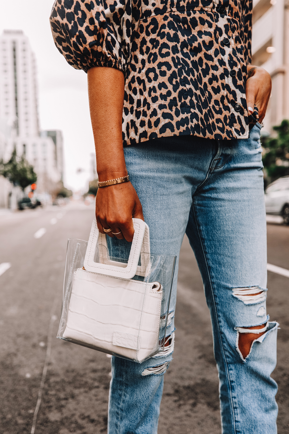 Fashion Jackson Wearing Leopard Top Ripped Jeans Staud Shirley Mini Tote White