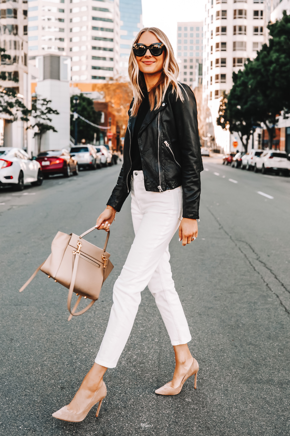 Fashion Jackson Wearing Madewell Black Leather Jacket Everlane White Jeans Nude Pumps Celine Belt Bag