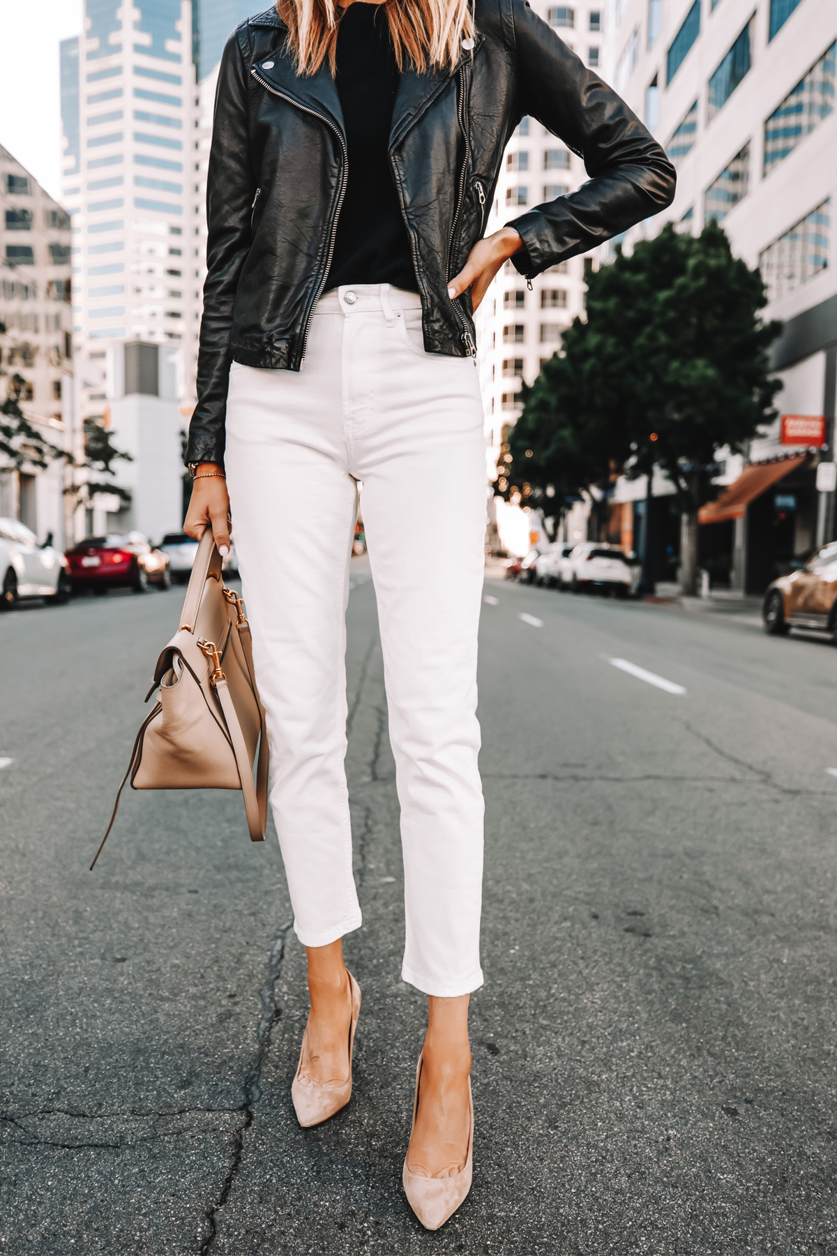 Fashion Jackson Wearing Madewell Black Leather Jacket Everlane White Jeans Nude Pumps