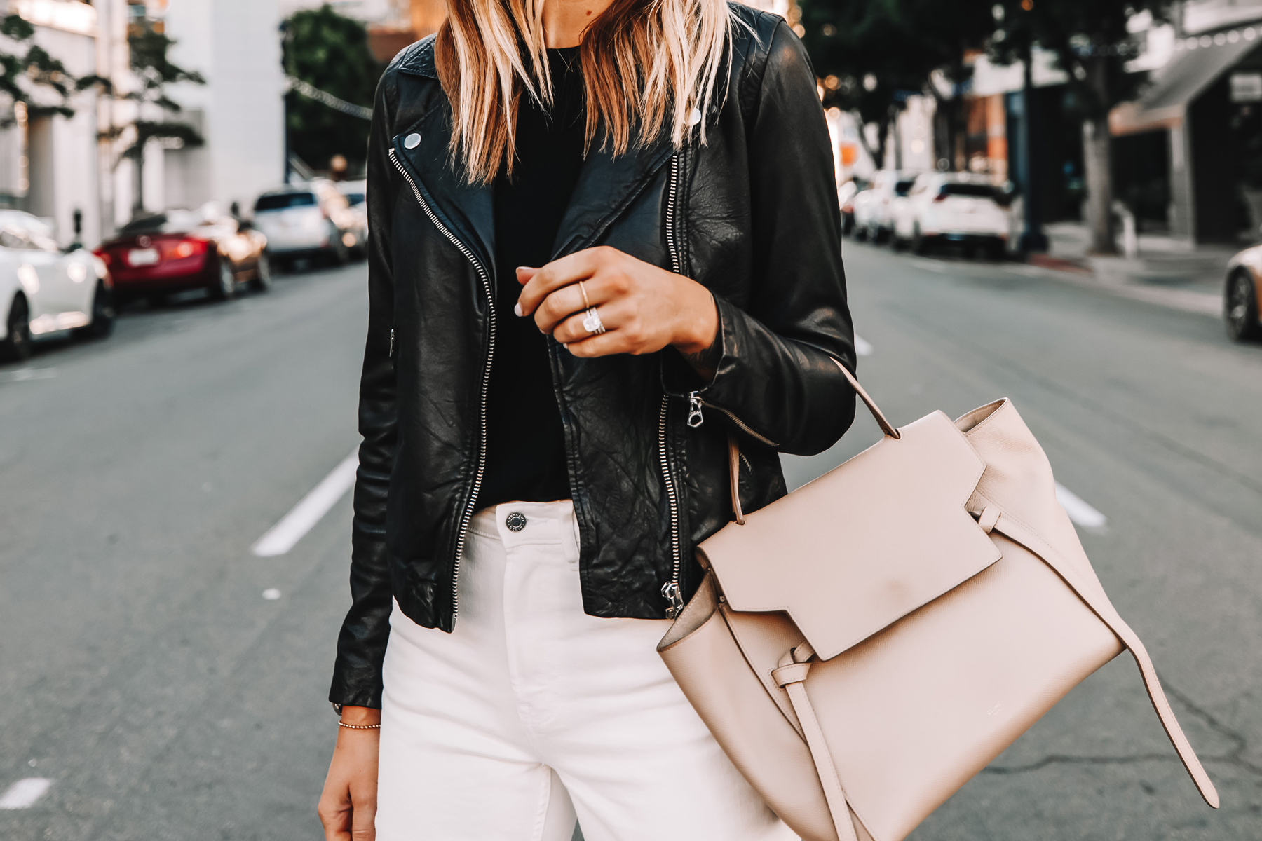 Fashion Jackson Wearing Madewell Black Leather Jacket White Jeans Celine Belt Bag