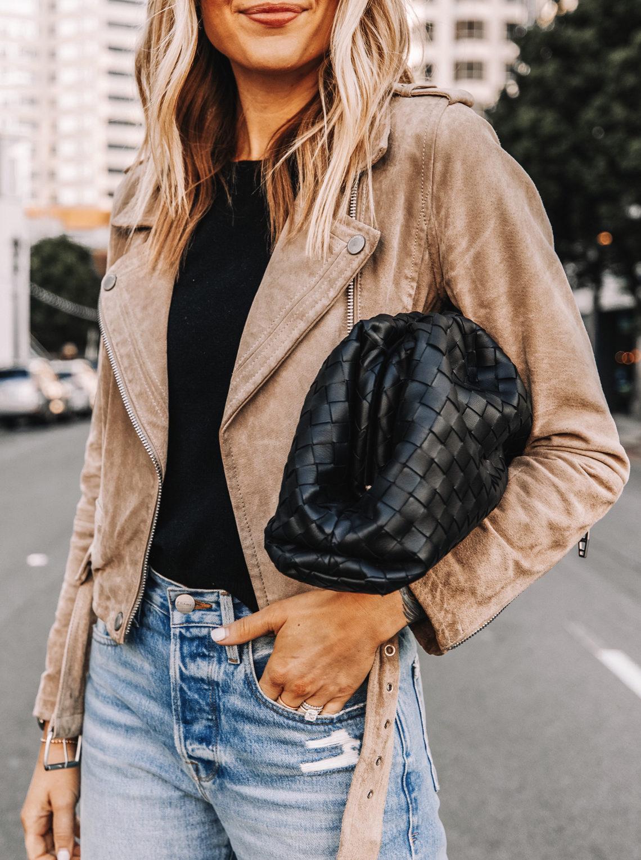 Fashion Jackson Wearing Tan Suede Moto Jacket Bottega Veneta Black Pouch