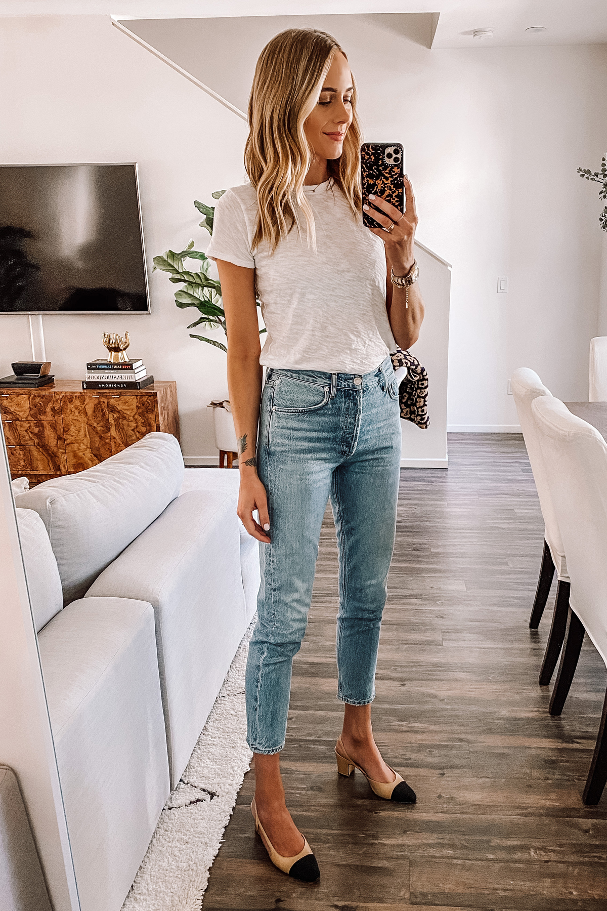 Fashion Jackson Wearing White Tshirt AGOLDE Denim Ankle Jeans Chanel Slingbacks