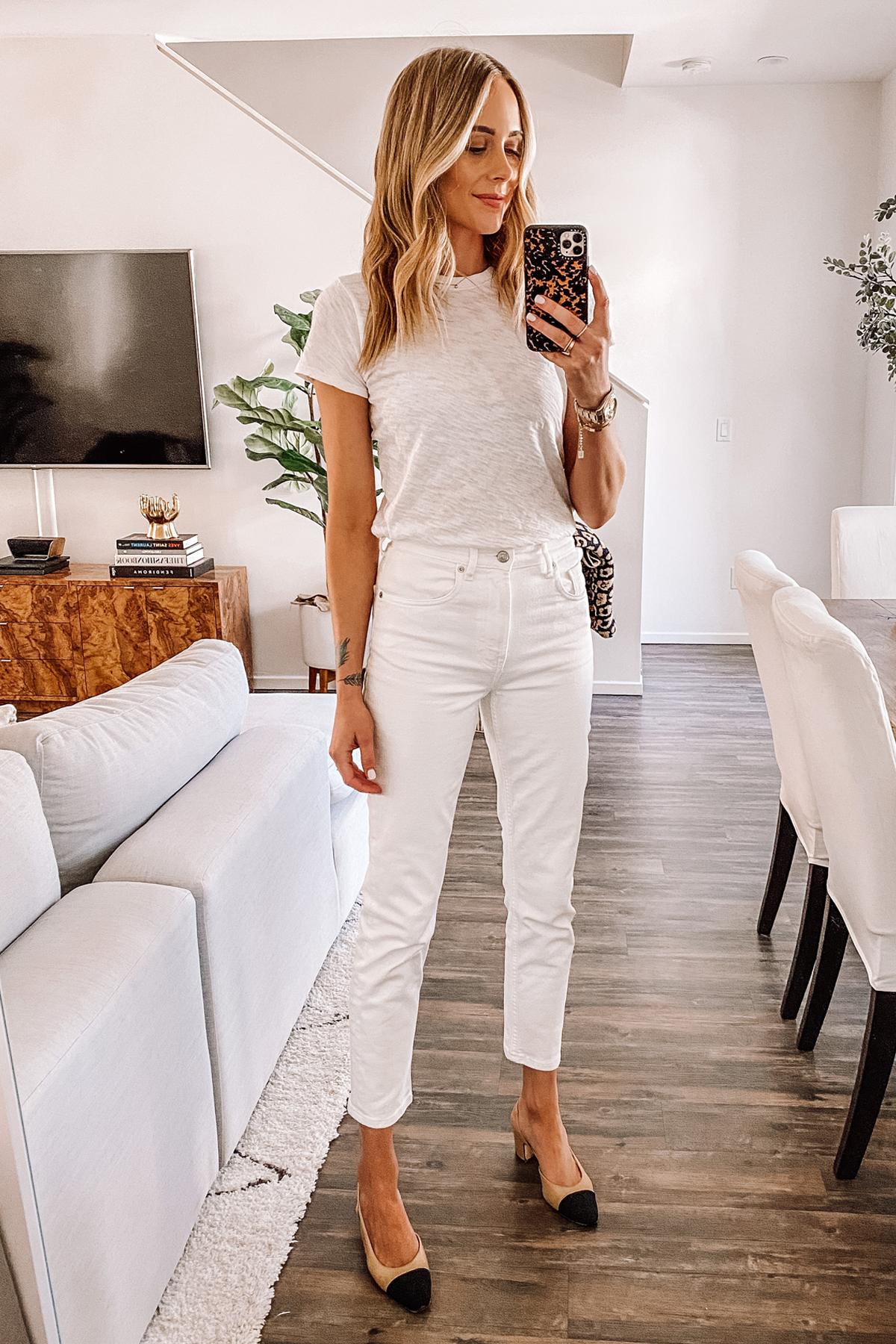 Fashion Jackson Wearing White Tshirt Everlane White Ankle Jeans Chanel Slingbacks