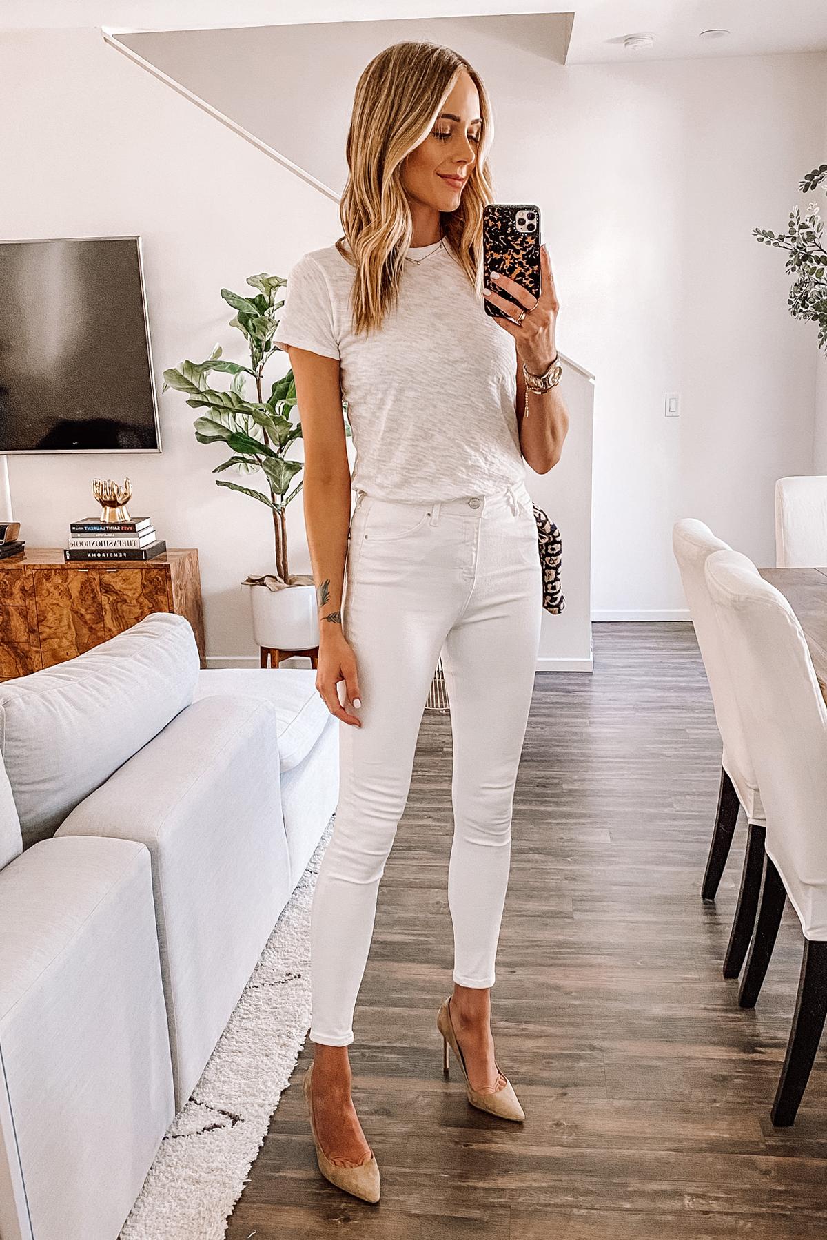 Fashion Jackson Wearing White Tshirt Topshop Jamie White Skinny Jeans Nude Pumps