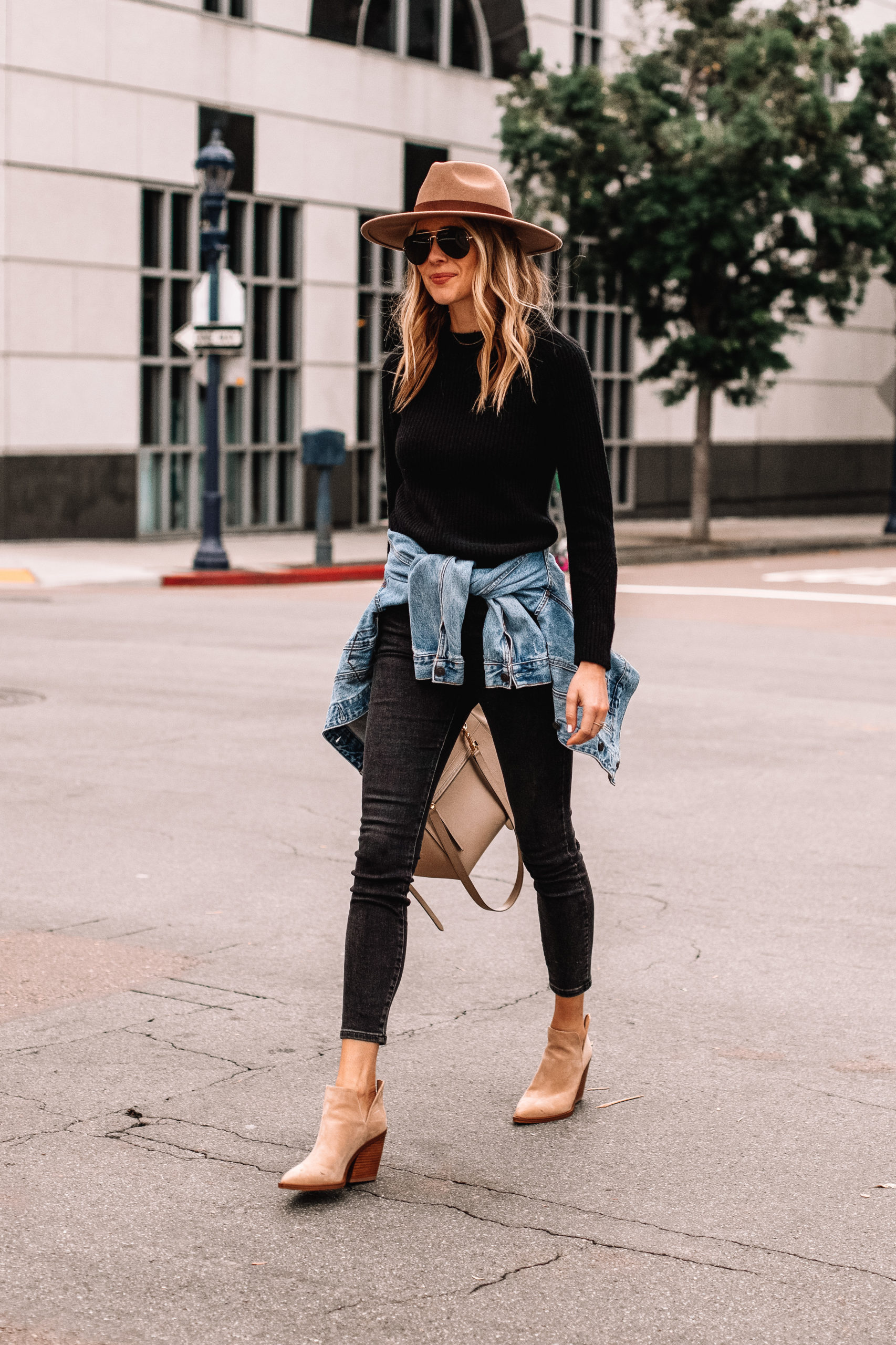 Fashion Jackson Black Sweater Black Jeans Denim Jacket Tan Booties