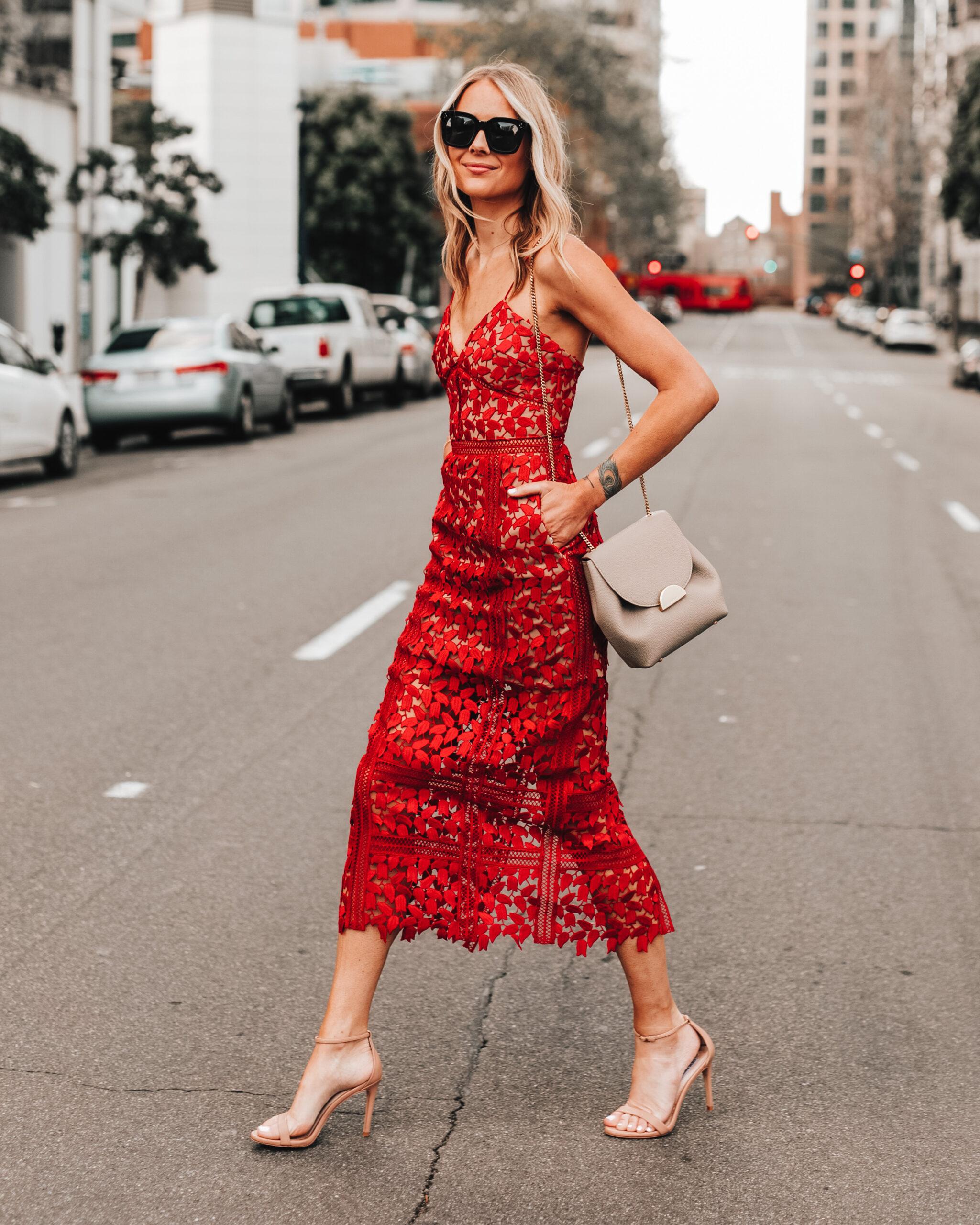 Fashion Jackson Wearing Self Portrait Red Lace Midi Dress