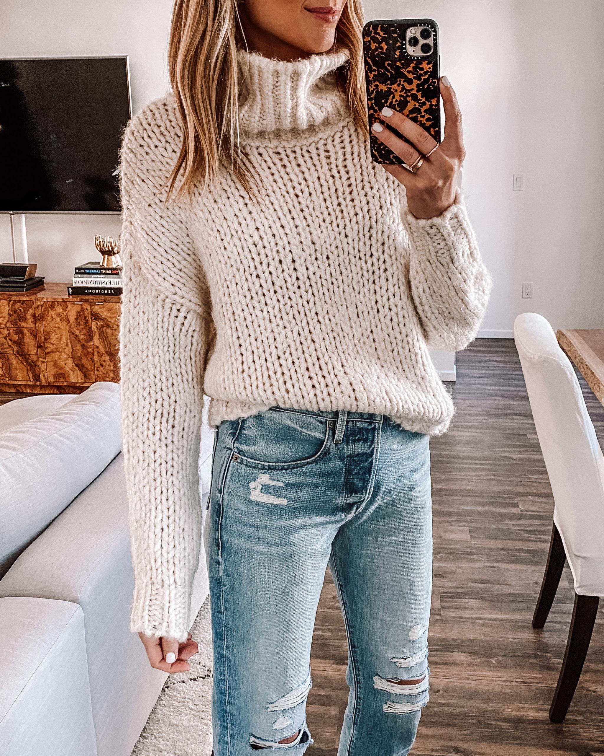 Fashion Jackson Wearing Topshop Ivory Chunky Turtleneck Sweater