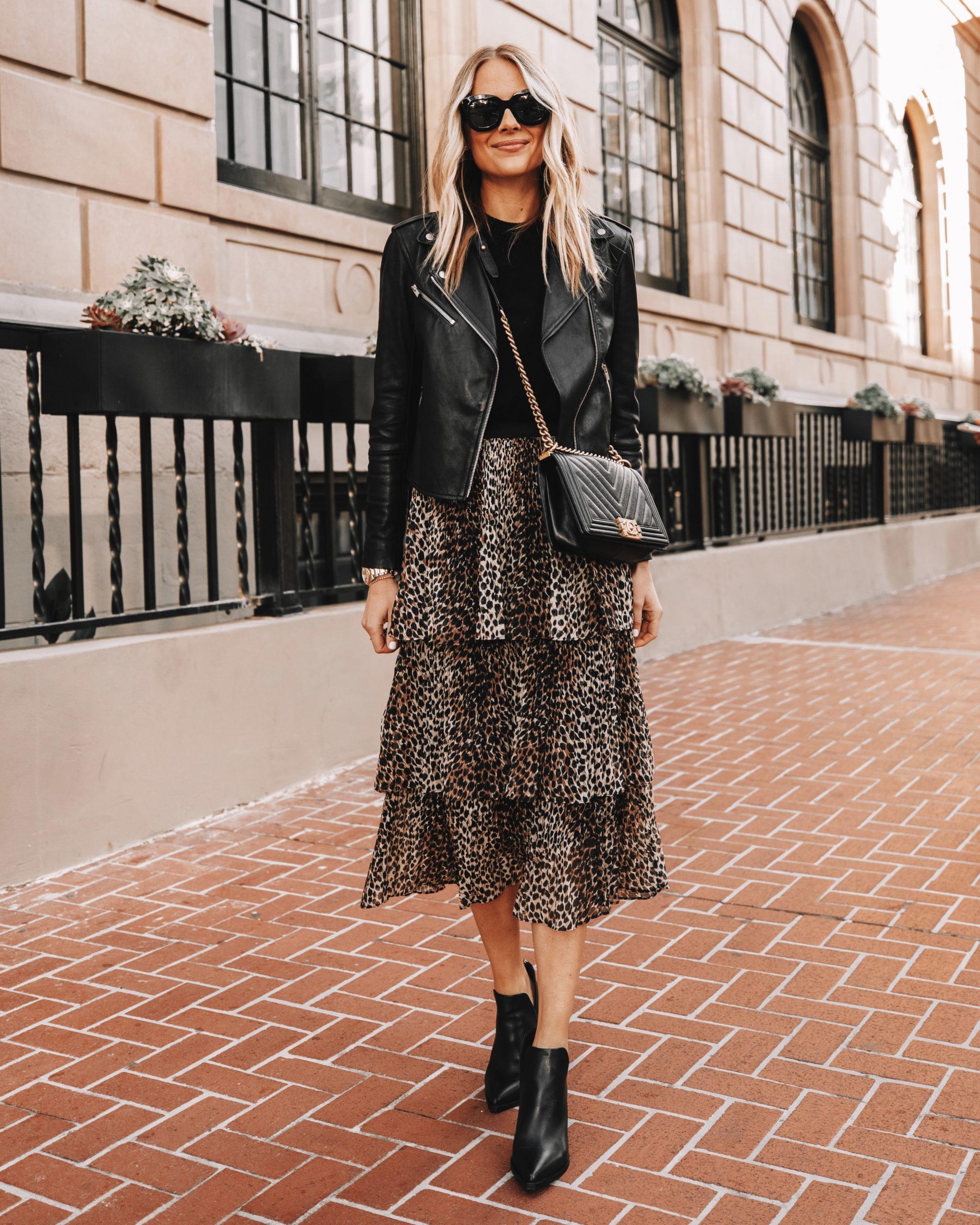 Fashion Jackson Wearing Black Leather Jacket Topshop Leopard Midi Skirt Black Leather Booties
