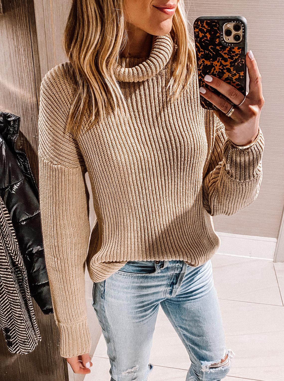 fashion jackson wearing amazon fashion tan turtleneck sweater