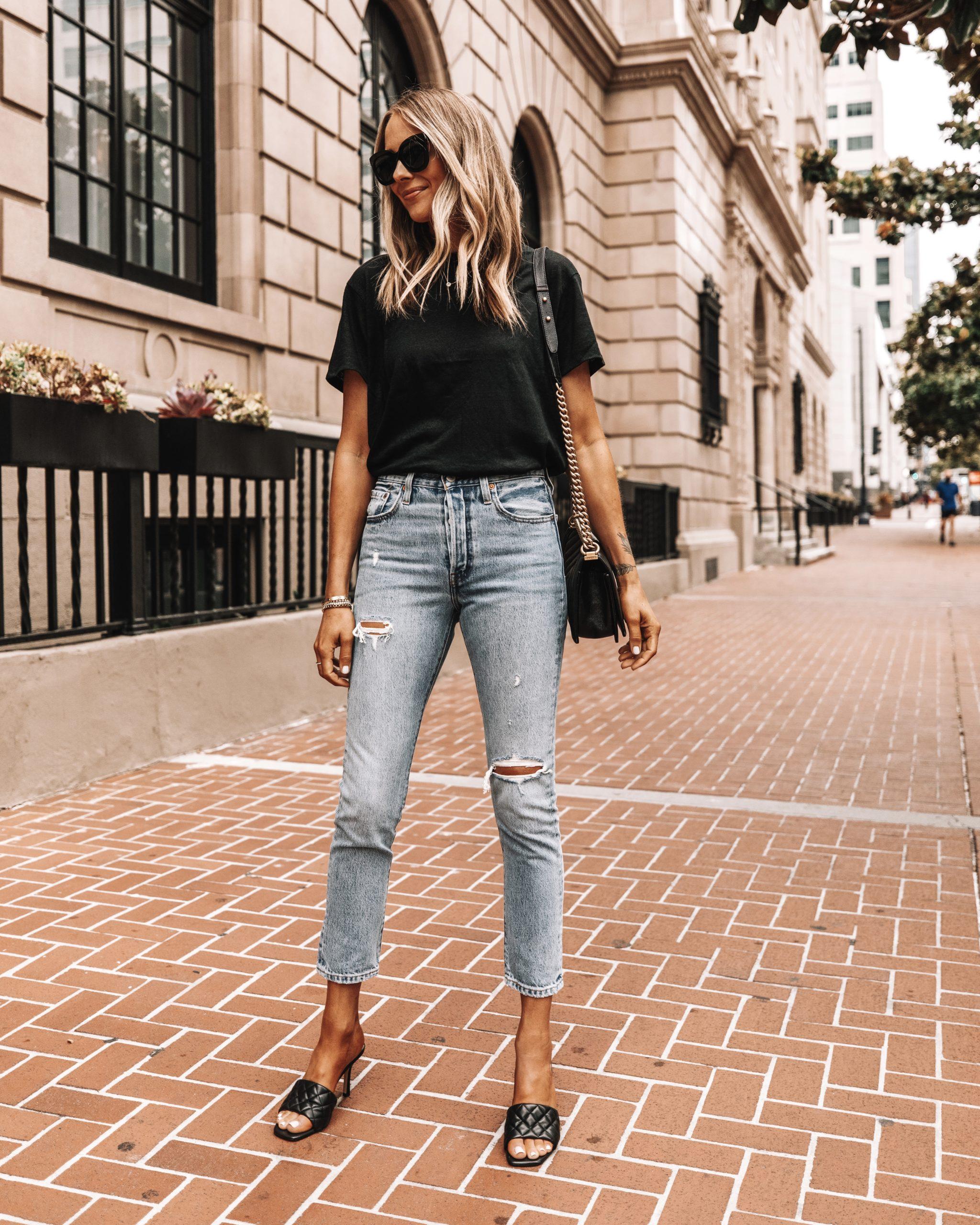 Fashion Jackson Wearing Anine Bing Black Tshirt Levis Ripped Jeans Black Heeled Sandals