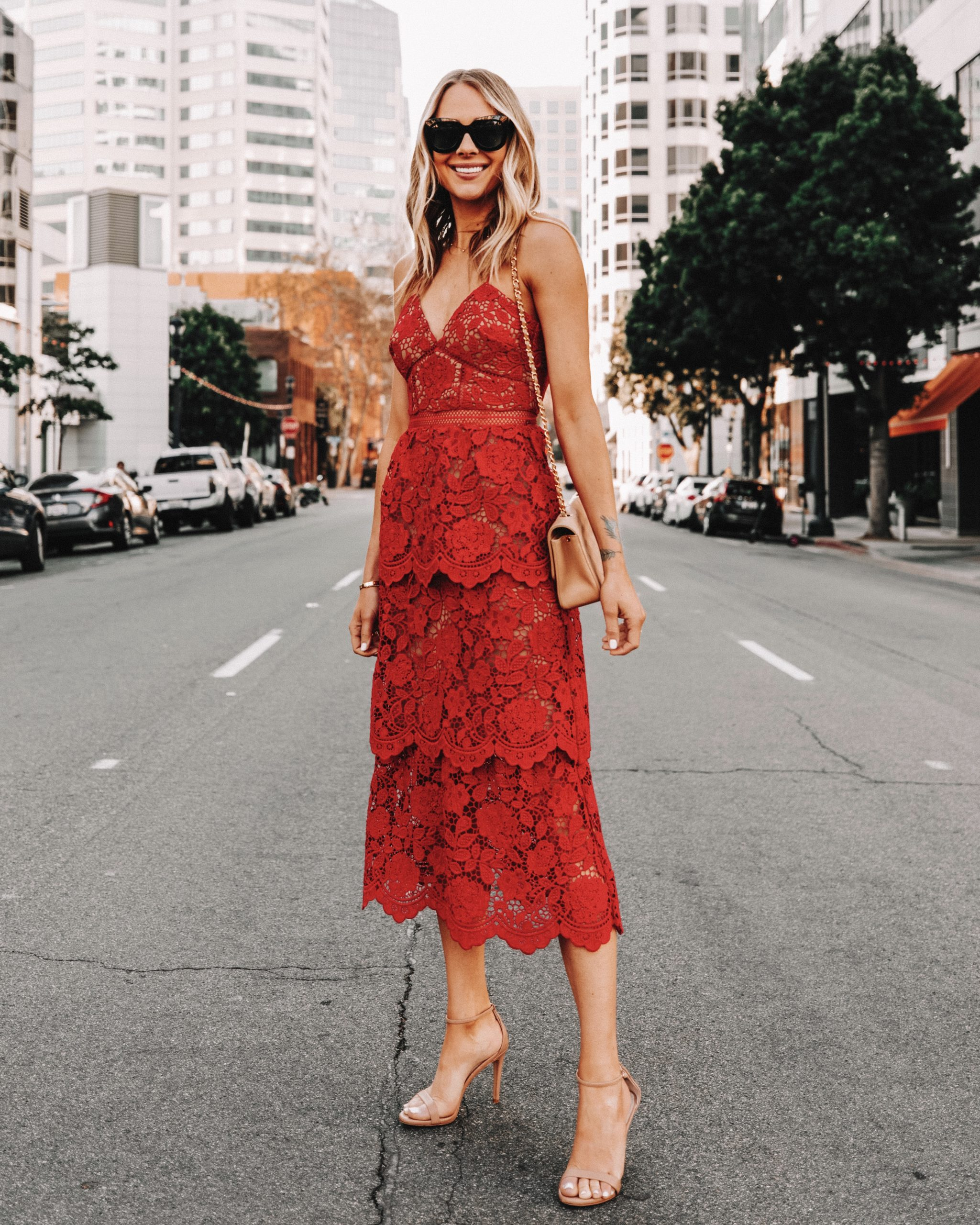 Fashion Jackson Wearing Self Portrait Flower Lace Midi Dress Red