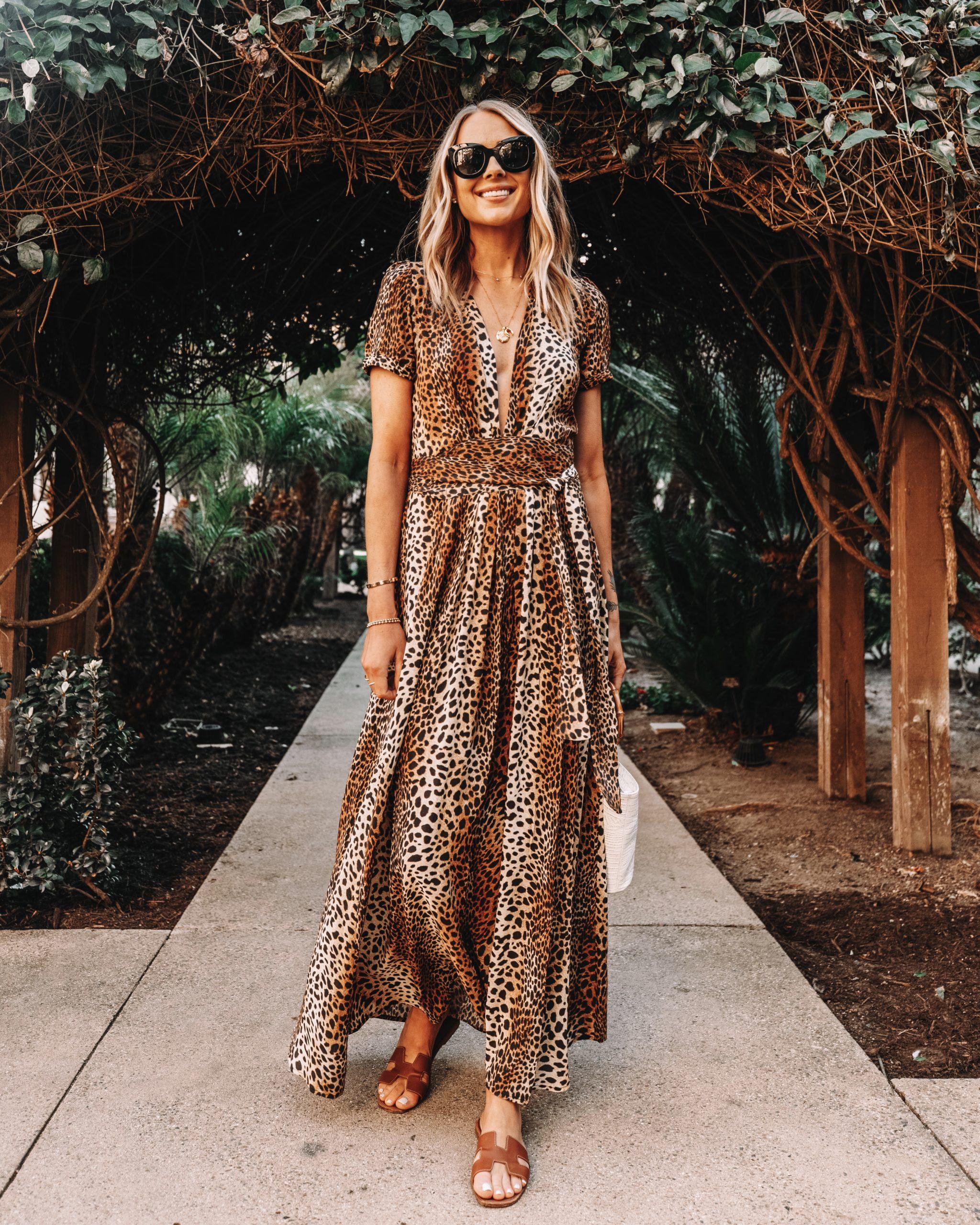 Fashion Jackson Wearing Melissa Odabash Leopard Maxi Dress