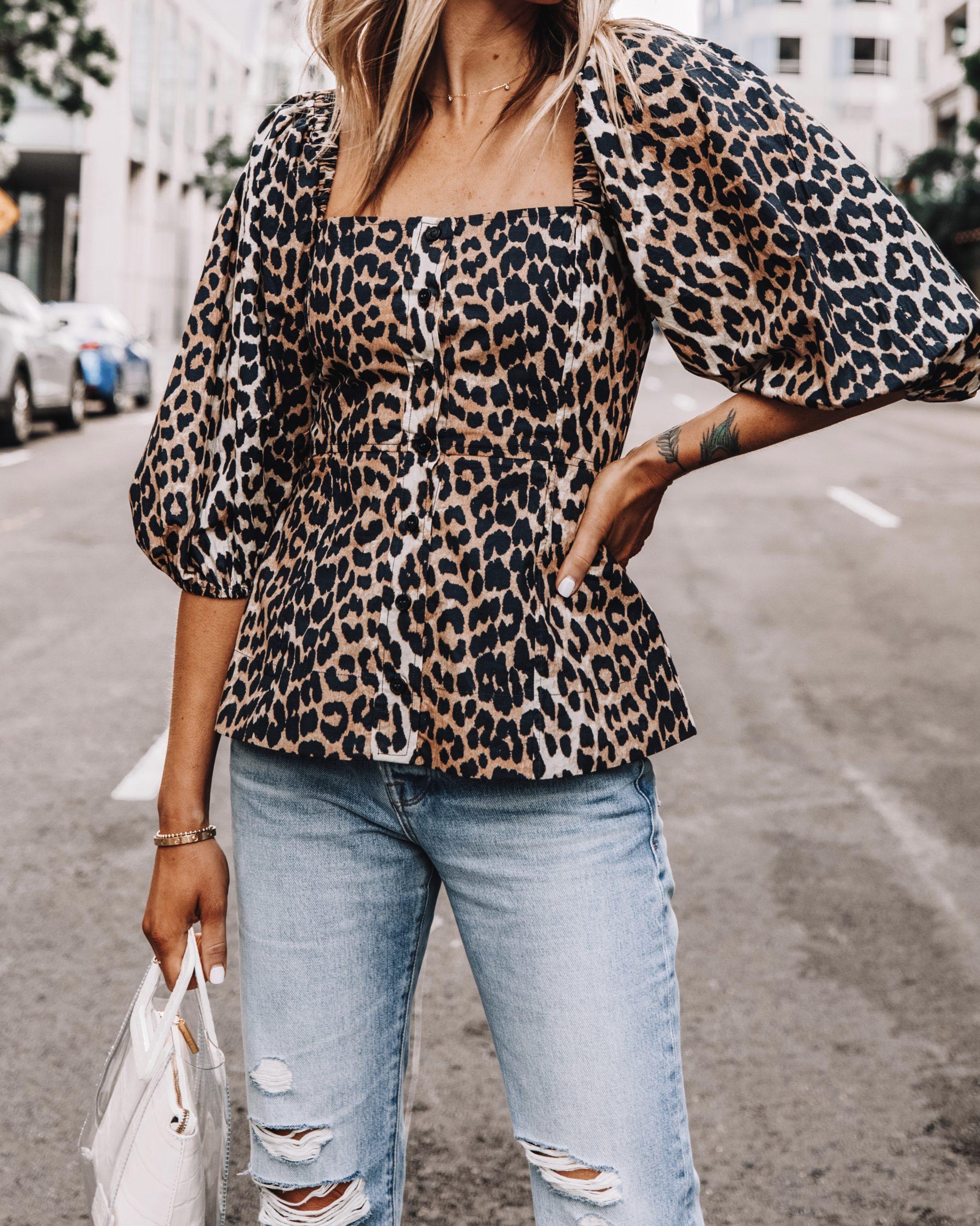Fashion Jackson Wearing Ganni Leopard Top Ripped Jeans