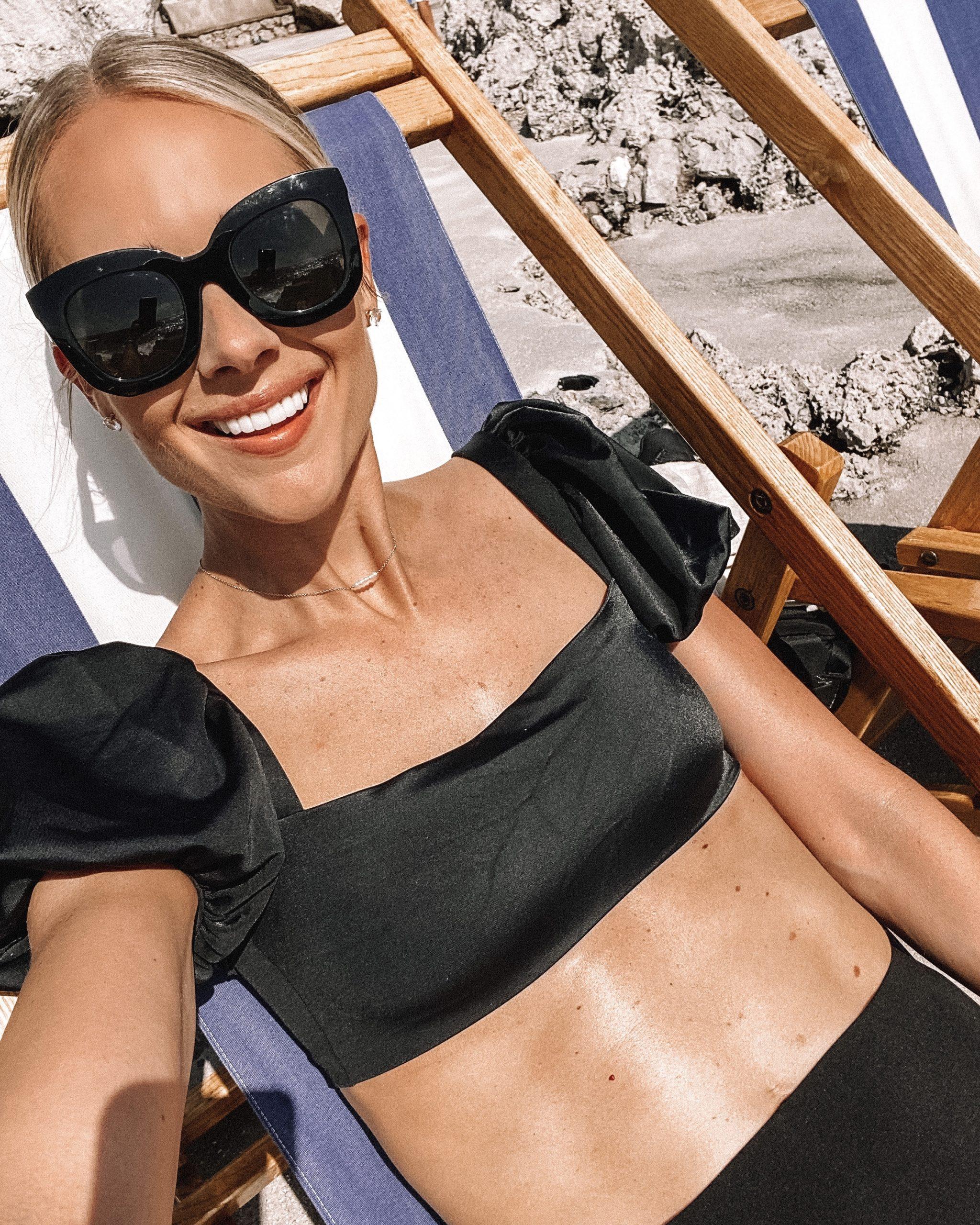 Fashion Jackson Wearing Agua Bendita Black Bikini Top