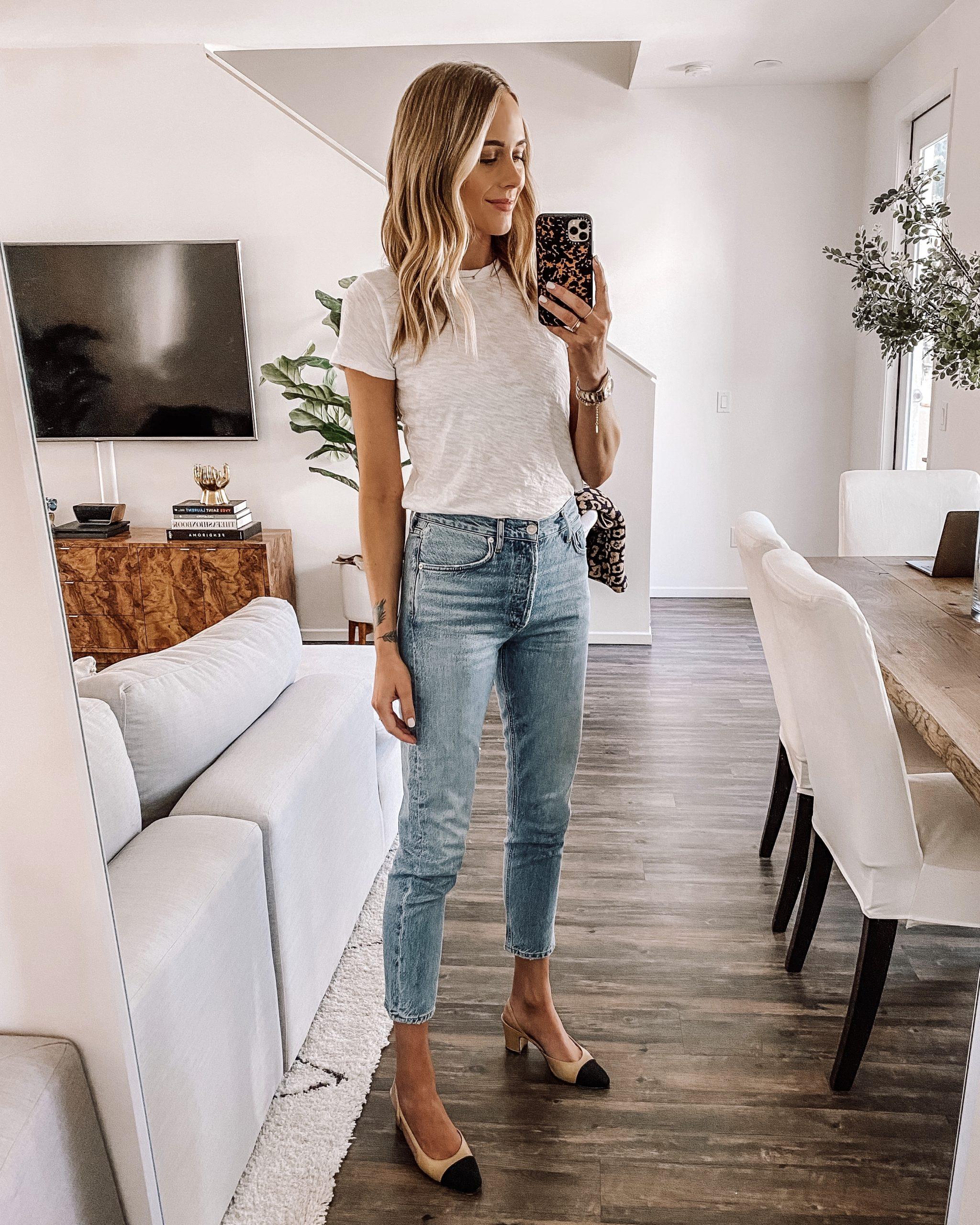Fashion Jackson Wearing White Tshirt Ankle Skinny Jeans