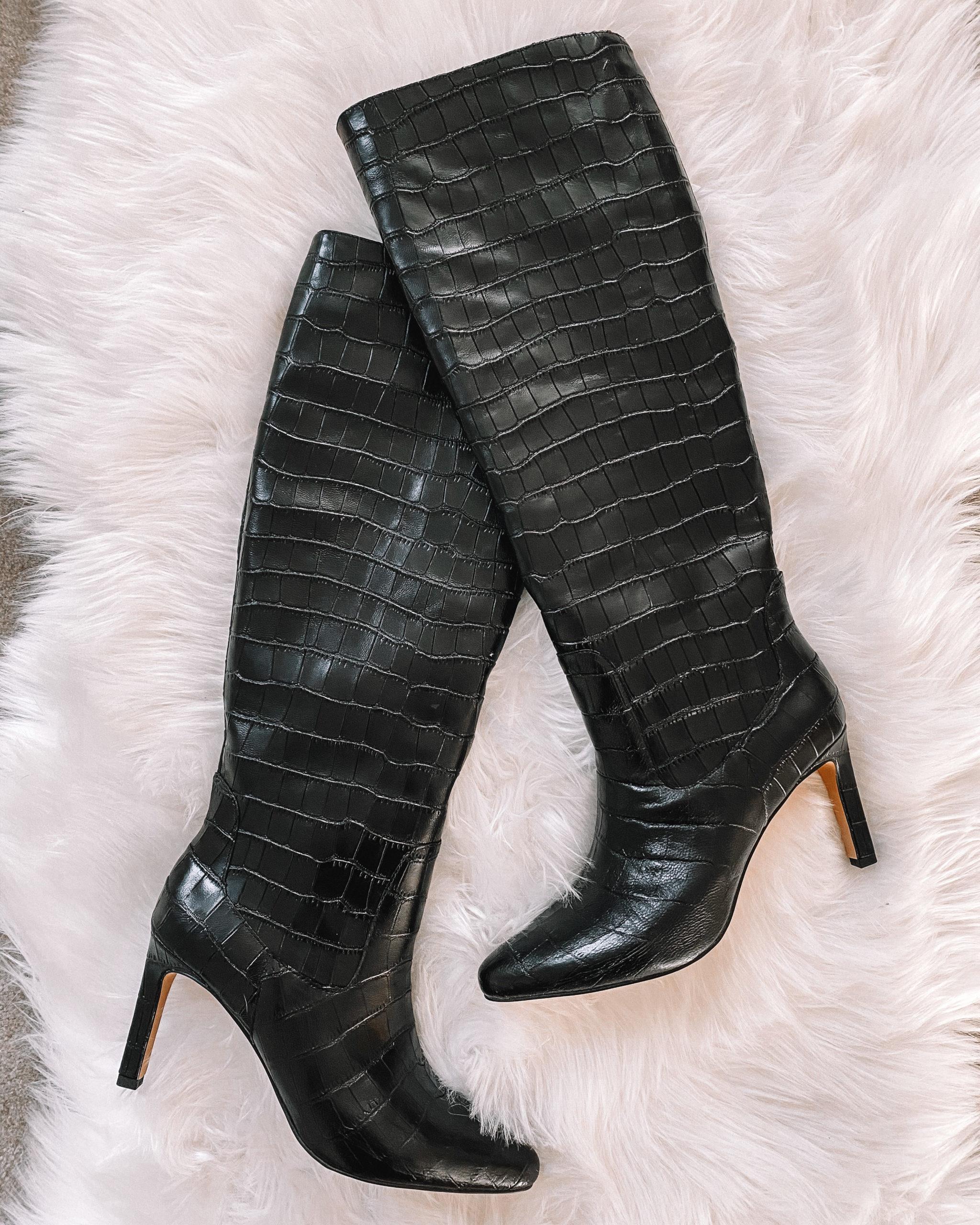 Fashion Jackson Black Croc Knee High Boots