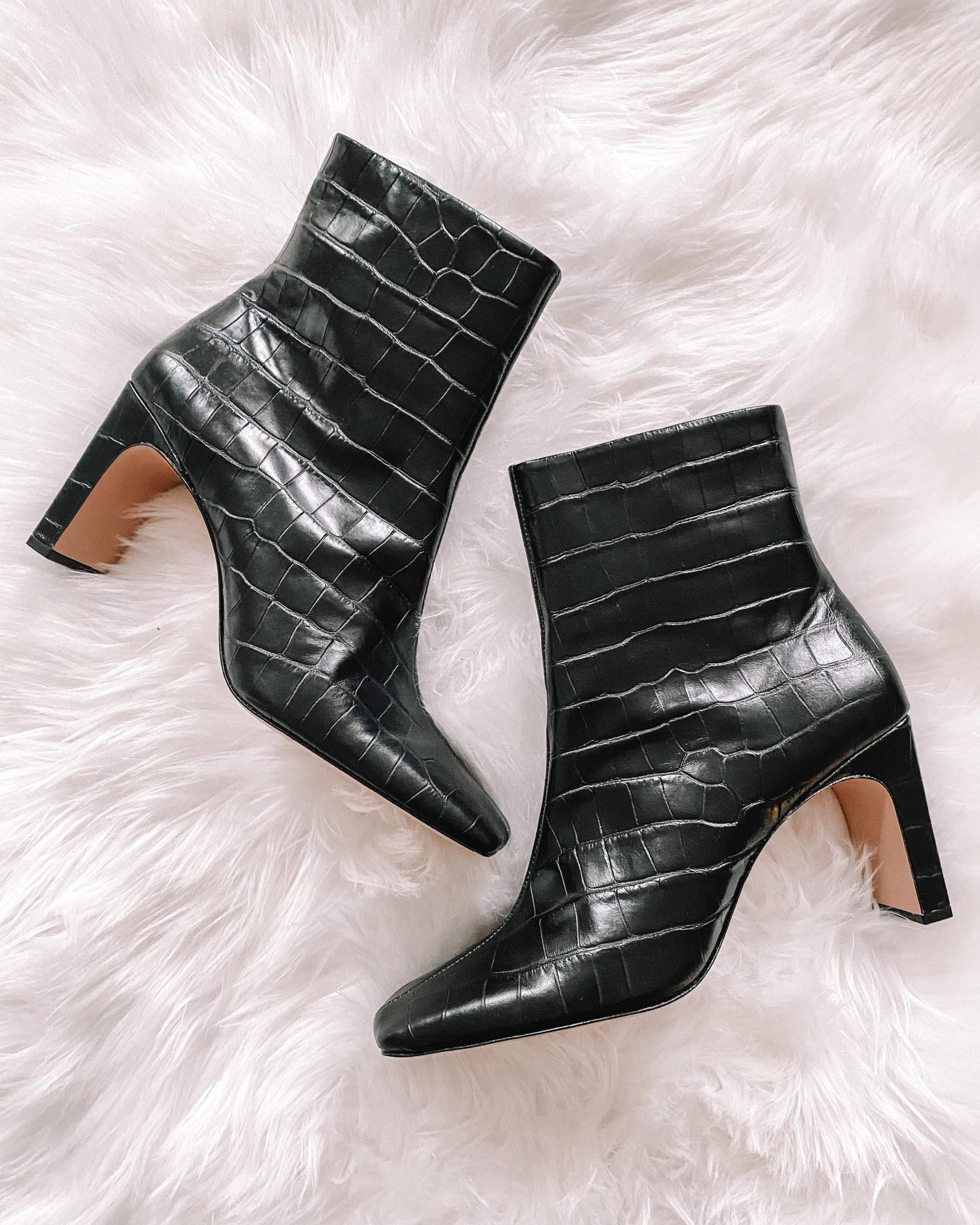 Fashion Jackson Black Leather Croc Ankle Booties