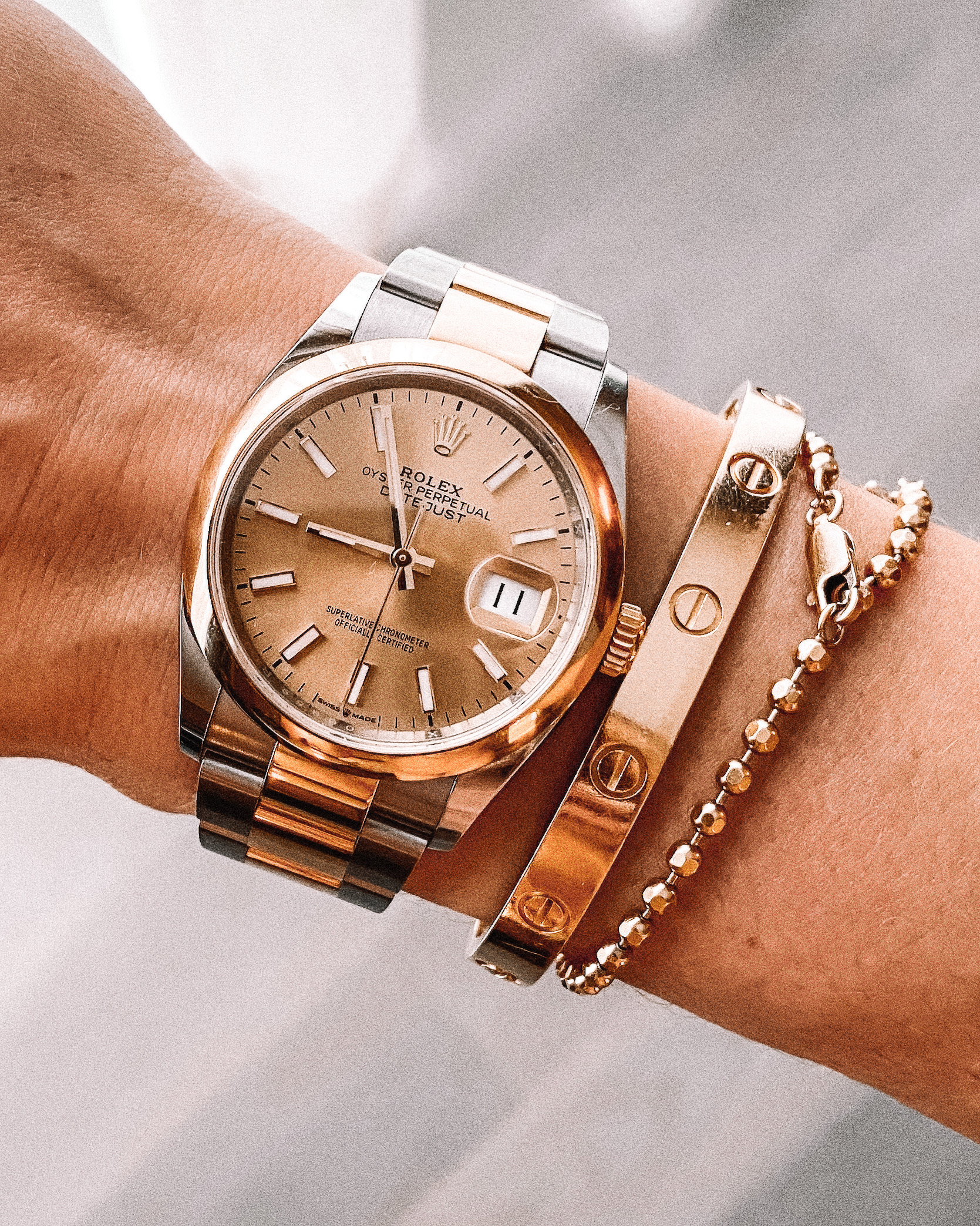 Fashion Jackson Rolex Oyster Perpetual Datejust 36 Gold Silve Cartier Love Bracelet Gold Miranda Frye Beaded Bracelet