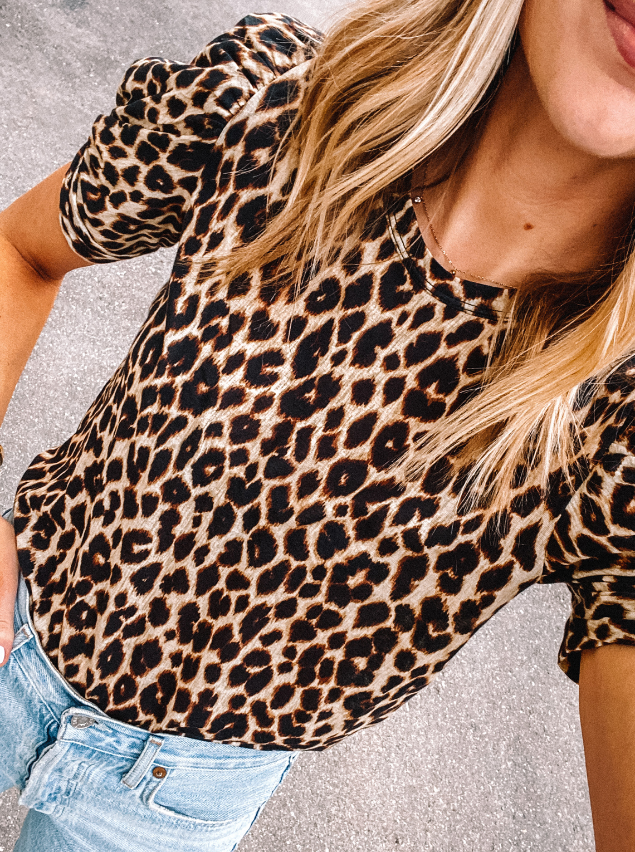 Fashion Jackson Wearing ALC Leopard T-Shirt