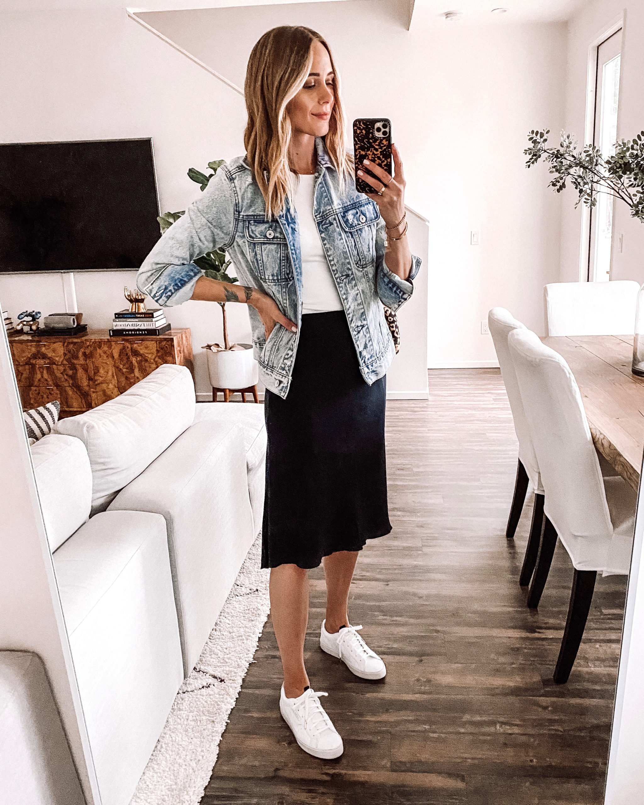 Fashion Jackson Wearing Abercrombie Denim Jacket White Bodysuit Black Slip Skirt White Sneakers