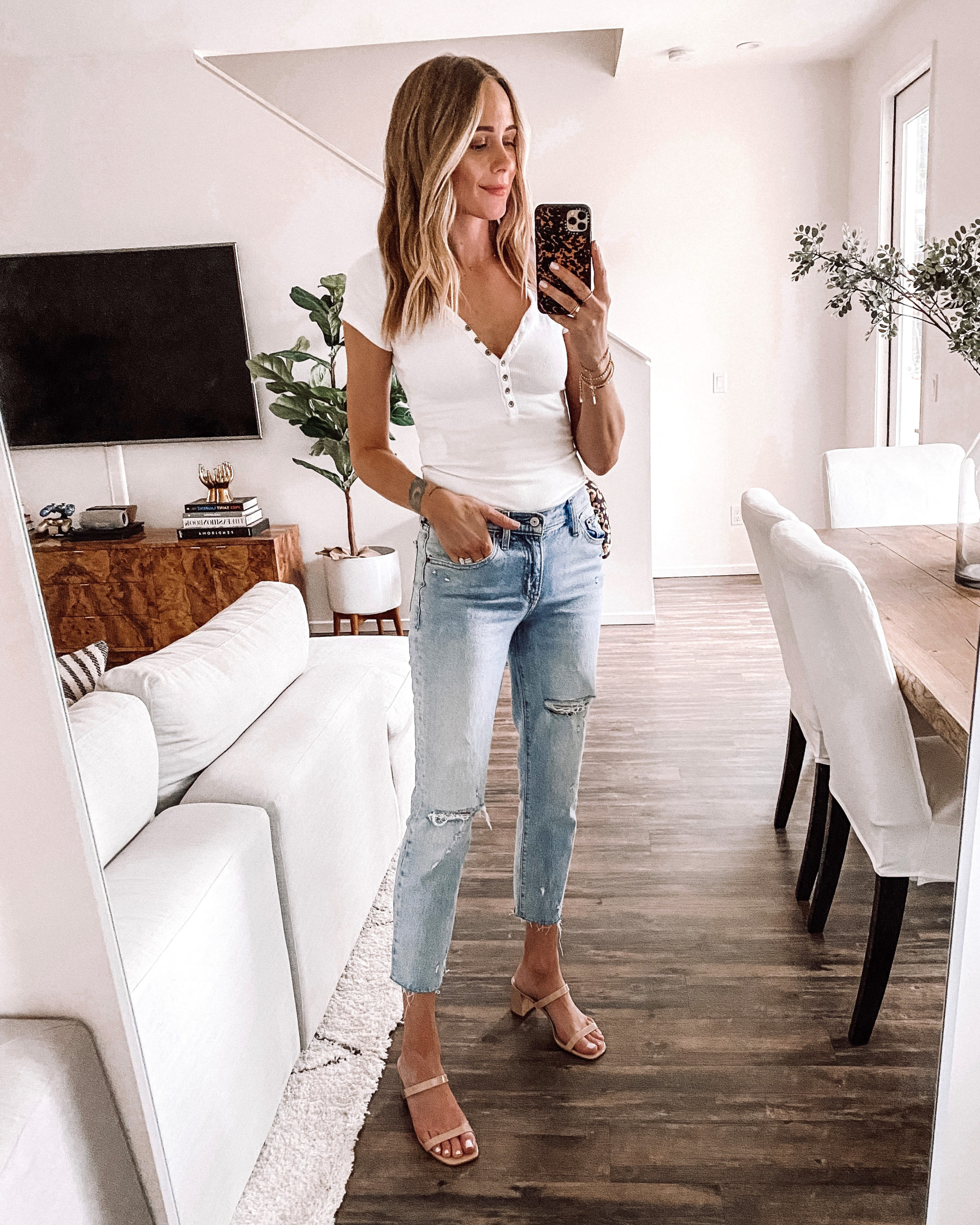 Fashion Jackson Wearing Abercrombie White Ribbed Henley Bodysuit Ripped Boyfriend Jeans Tan Sandals