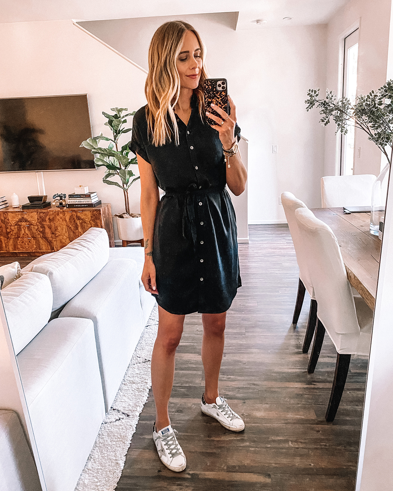 Fashion Jackson Wearing Amazon Daily Ritual Black Shirtdress Golden Goose Sneakers