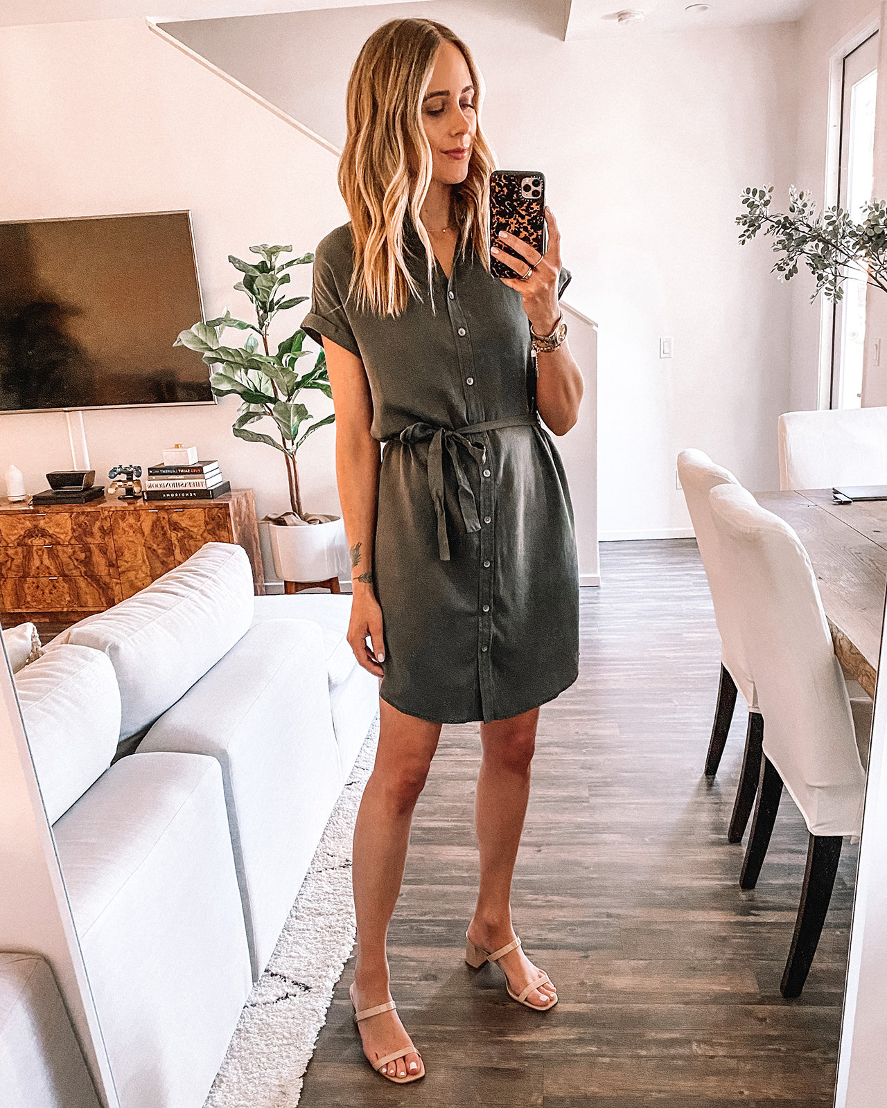 Fashion Jackson Wearing Amazon Daily Ritual Black Shirtdress Tan Sandals
