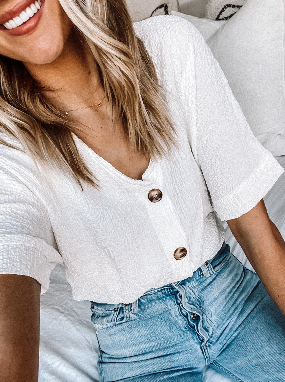 Fashion Jackson Wearing Amazon Fashion White Button Front Top