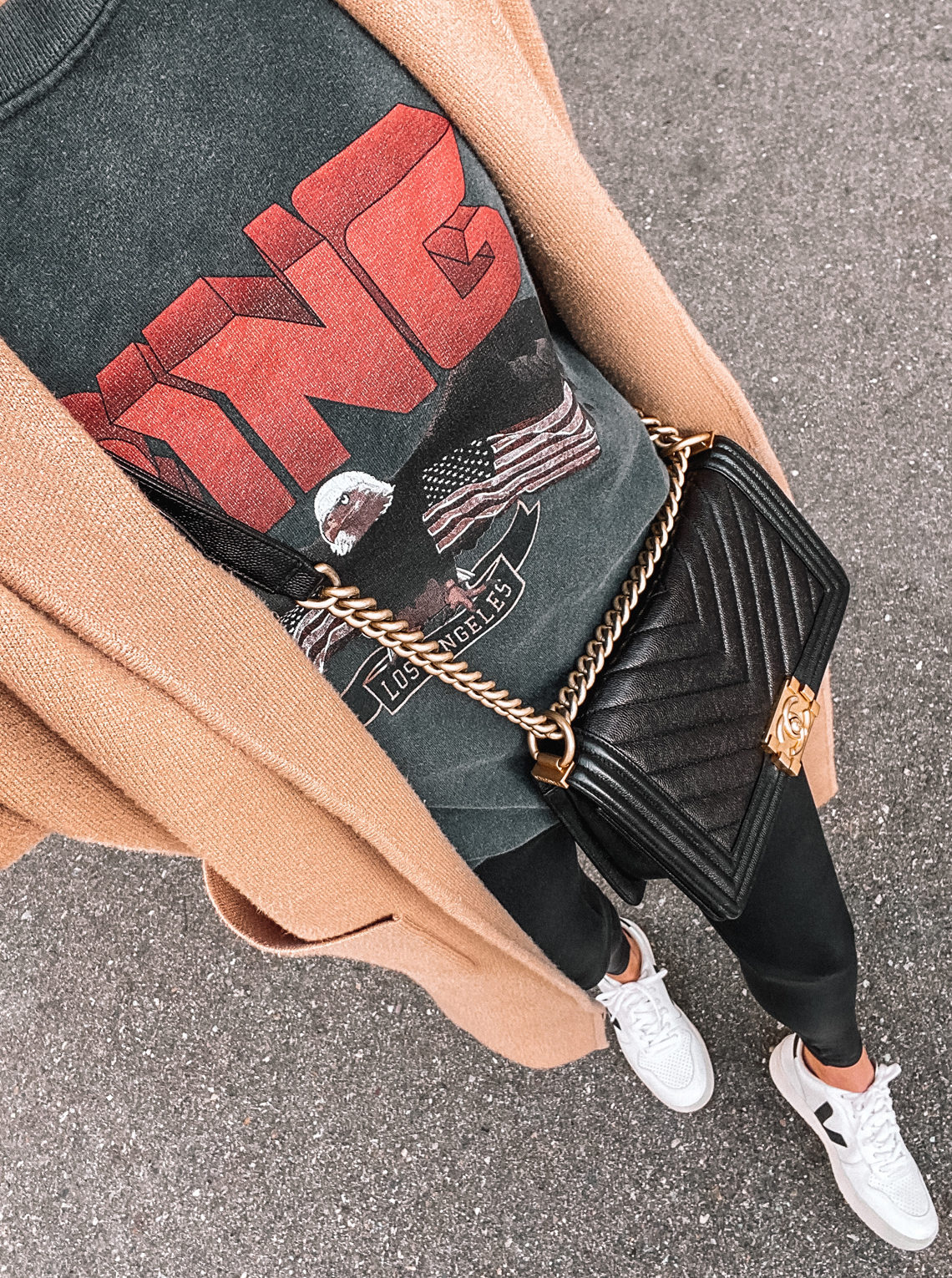 Fashion Jackson Wearing Anine Bing Vintage Eagle Sweatshirt Spanx Leggings Veja Sneakers Tan Coatigan