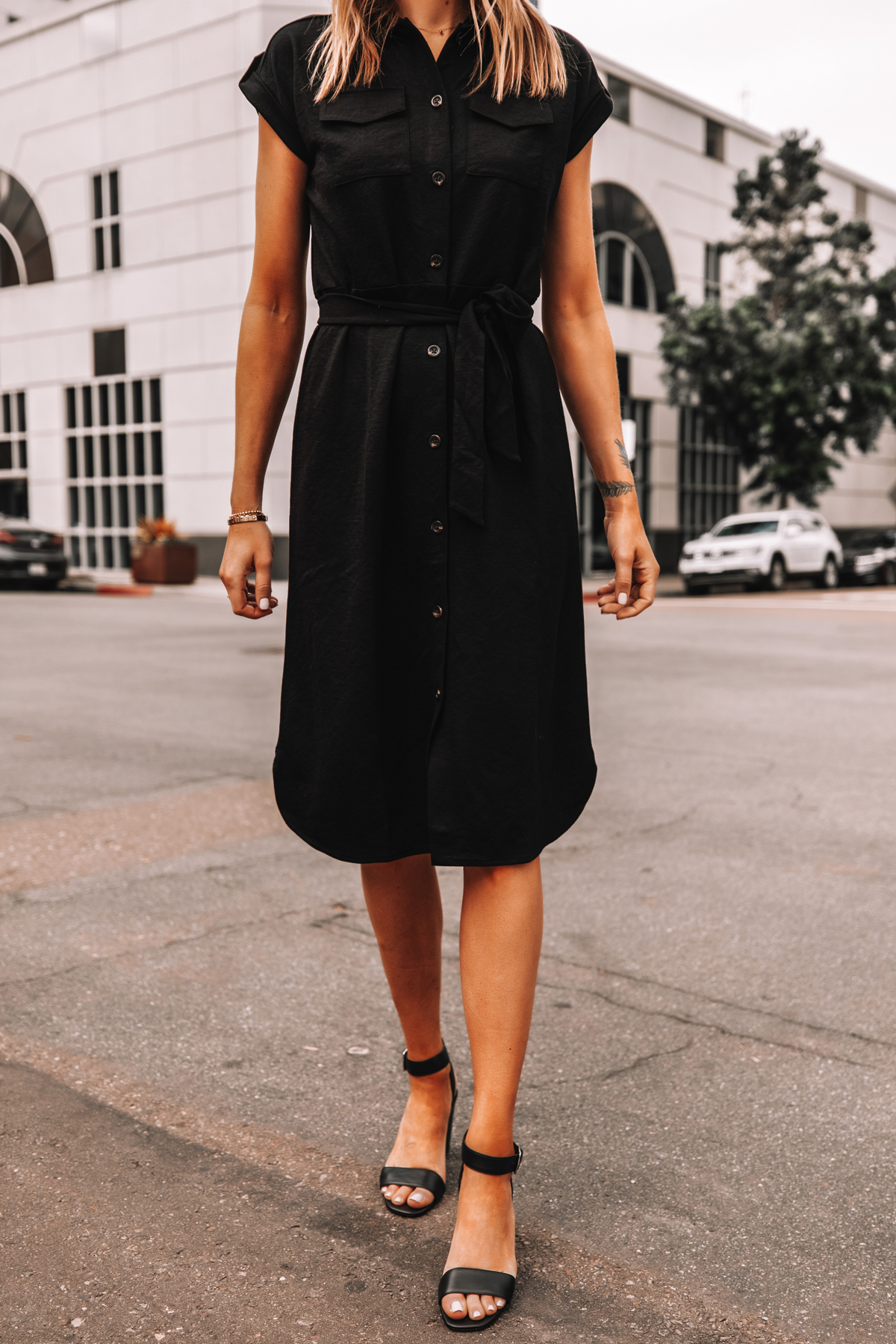 Fashion Jackson Wearing Ann Taylor Black Belted Shirt Dress Black Sandals Workwear Outfit 1