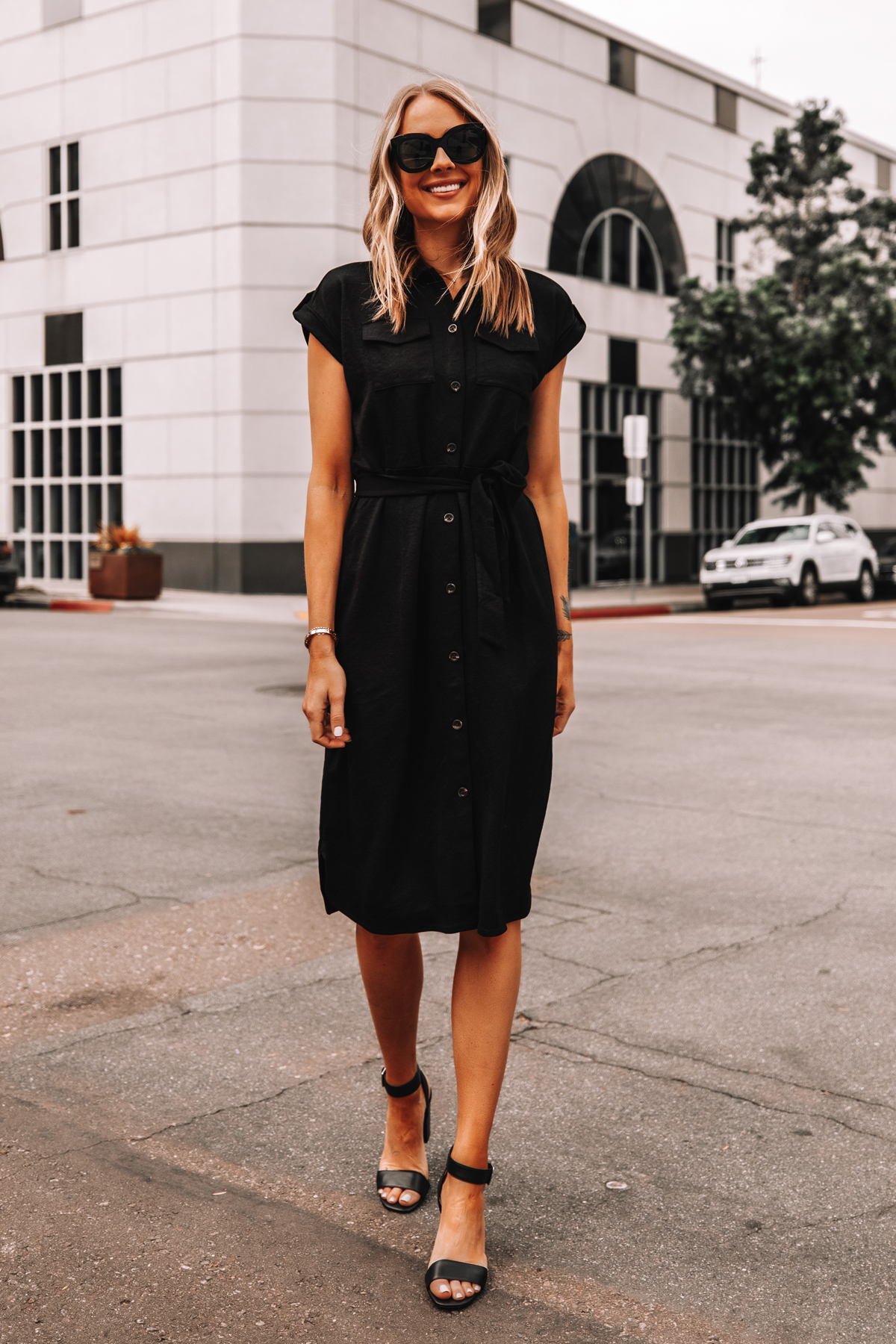 Fashion Jackson Wearing Ann Taylor Black Belted Shirt Dress Black Sandals Workwear Outfit 2