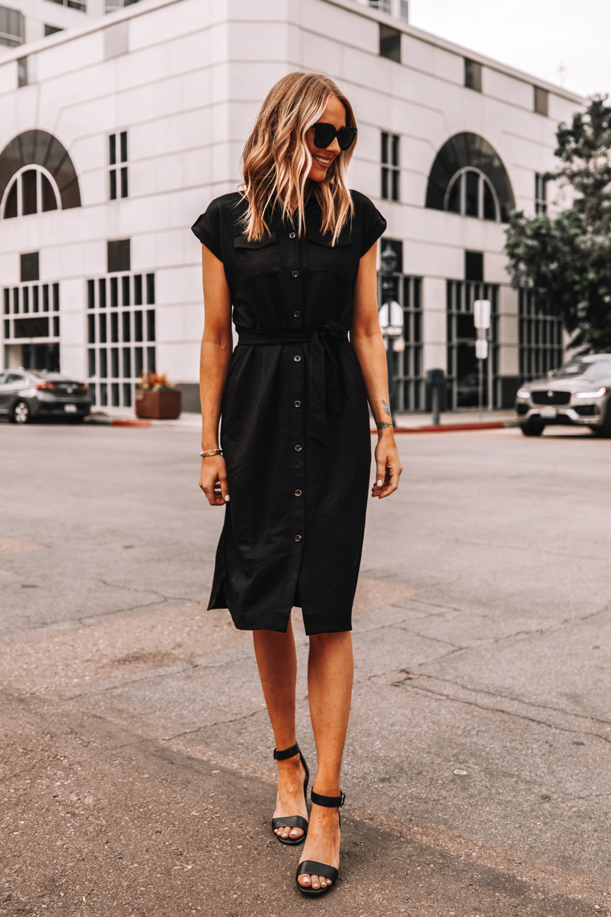 Fashion Jackson Wearing Ann Taylor Black Belted Shirt Dress Black Sandals Workwear Outfit 3