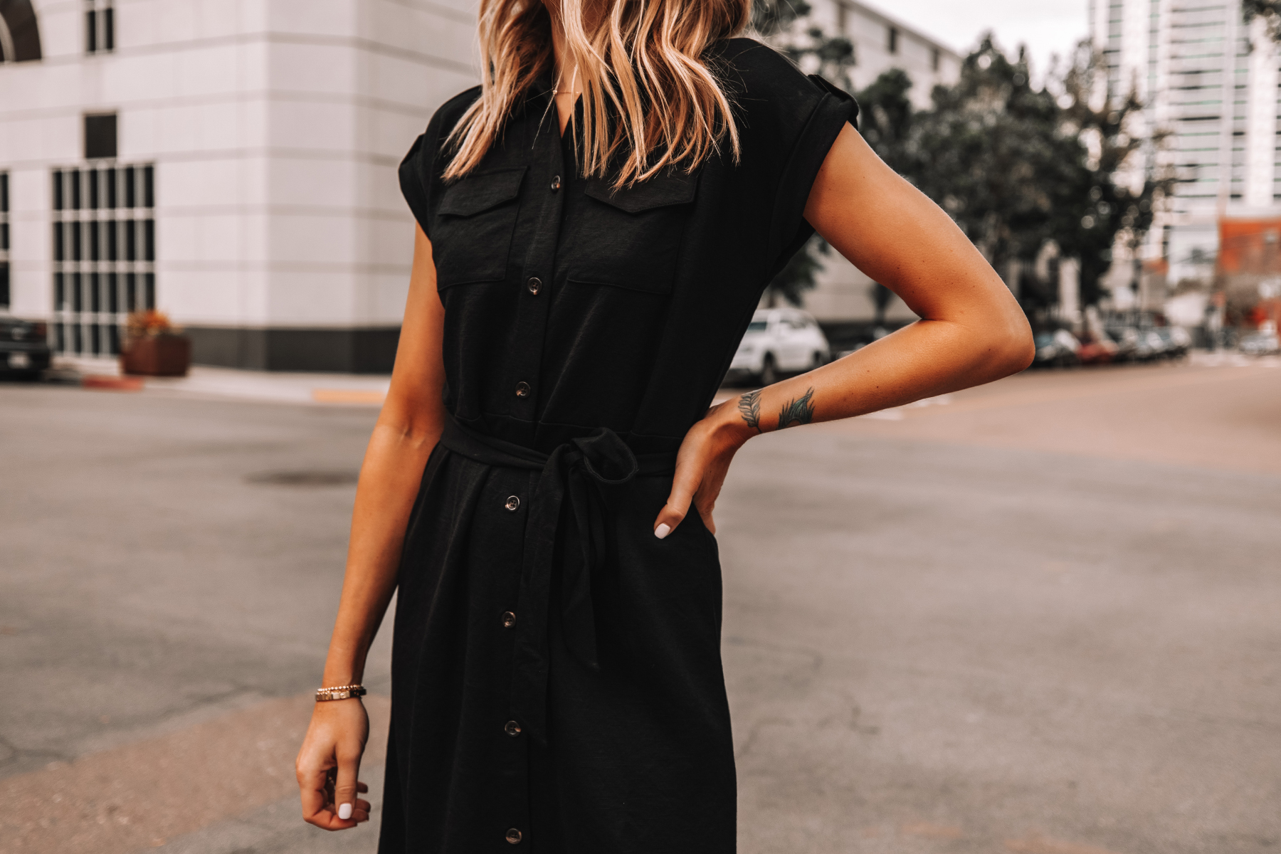 Fashion Jackson Wearing Ann Taylor Black Belted Shirt Dress Workwear Outfit