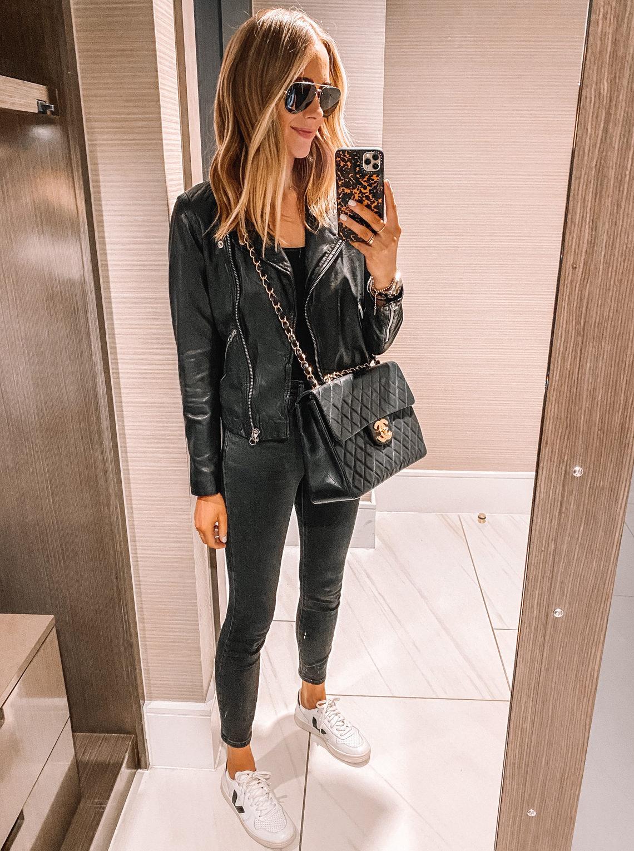Fashion Jackson Wearing Black Leather Jacket Black Skinny Jeans Veja Sneakers Black XL Jumbo Chanel Handbag