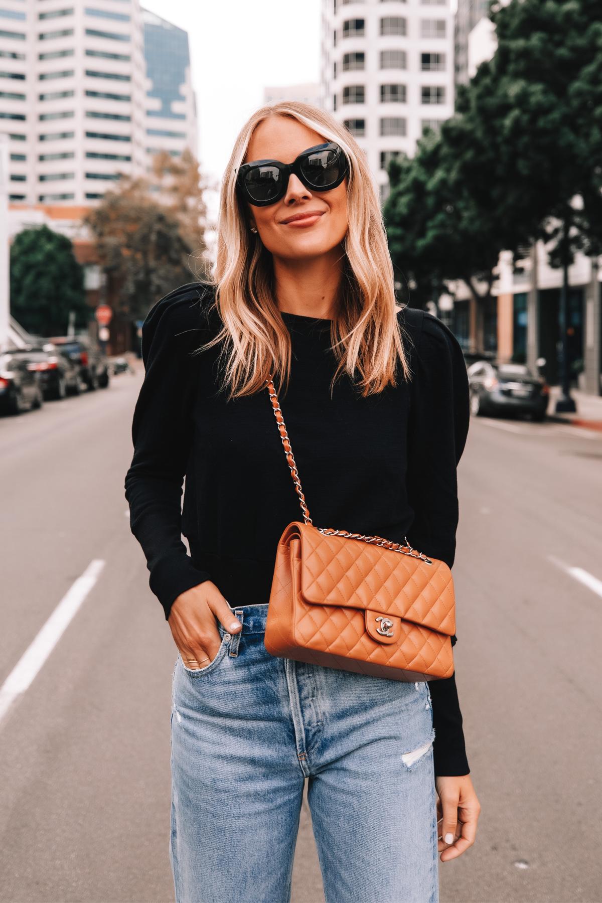Fashion Jackson Wearing Black Puff Sleeve Sweatshirt AGOLDE Jeans Camel Chanel Handbag