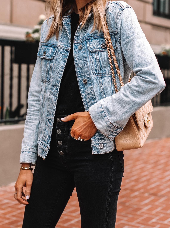 Fashion Jackson Wearing Denim Jacket Black Button Front Jeans