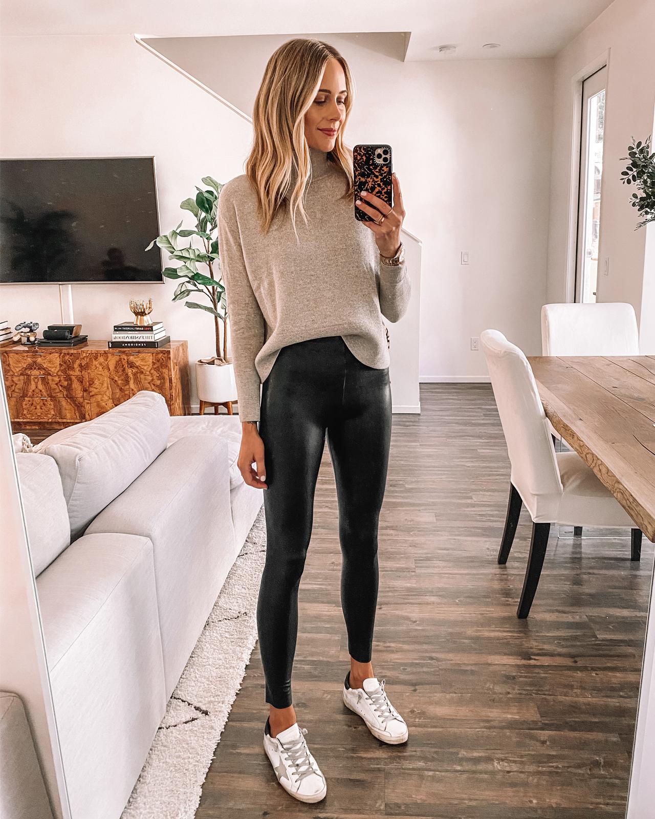 Fashion Jackson Wearing Everlane Taupe Turtleneck Sweater Commando Faux Leather Leggings Leggings Golden Goose Sneakers
