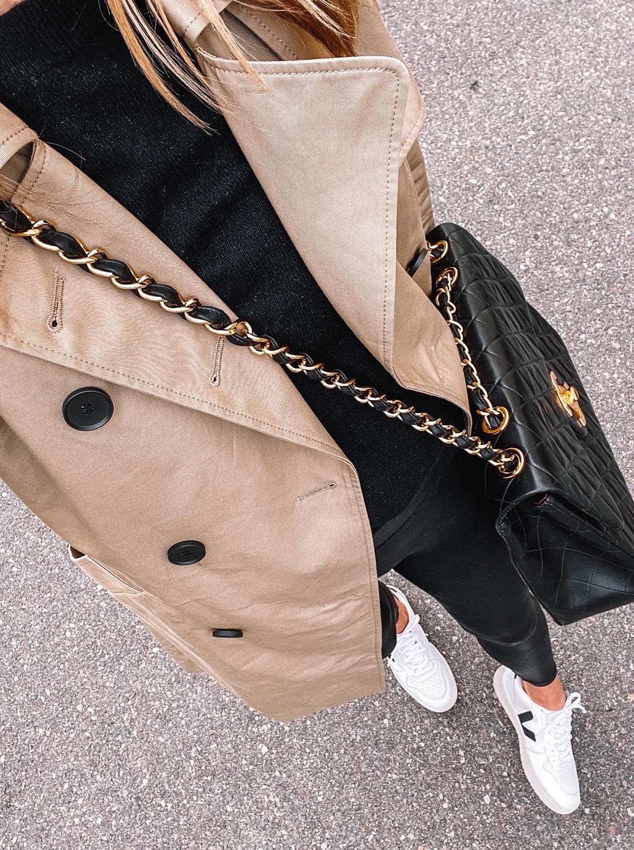 Fashion Jackson Wearing Everlane Trench Coat Black Sweater Black Leggings Veja V10 Sneakers Chanel XL Jumbo Handbag Rainy Day Outfit