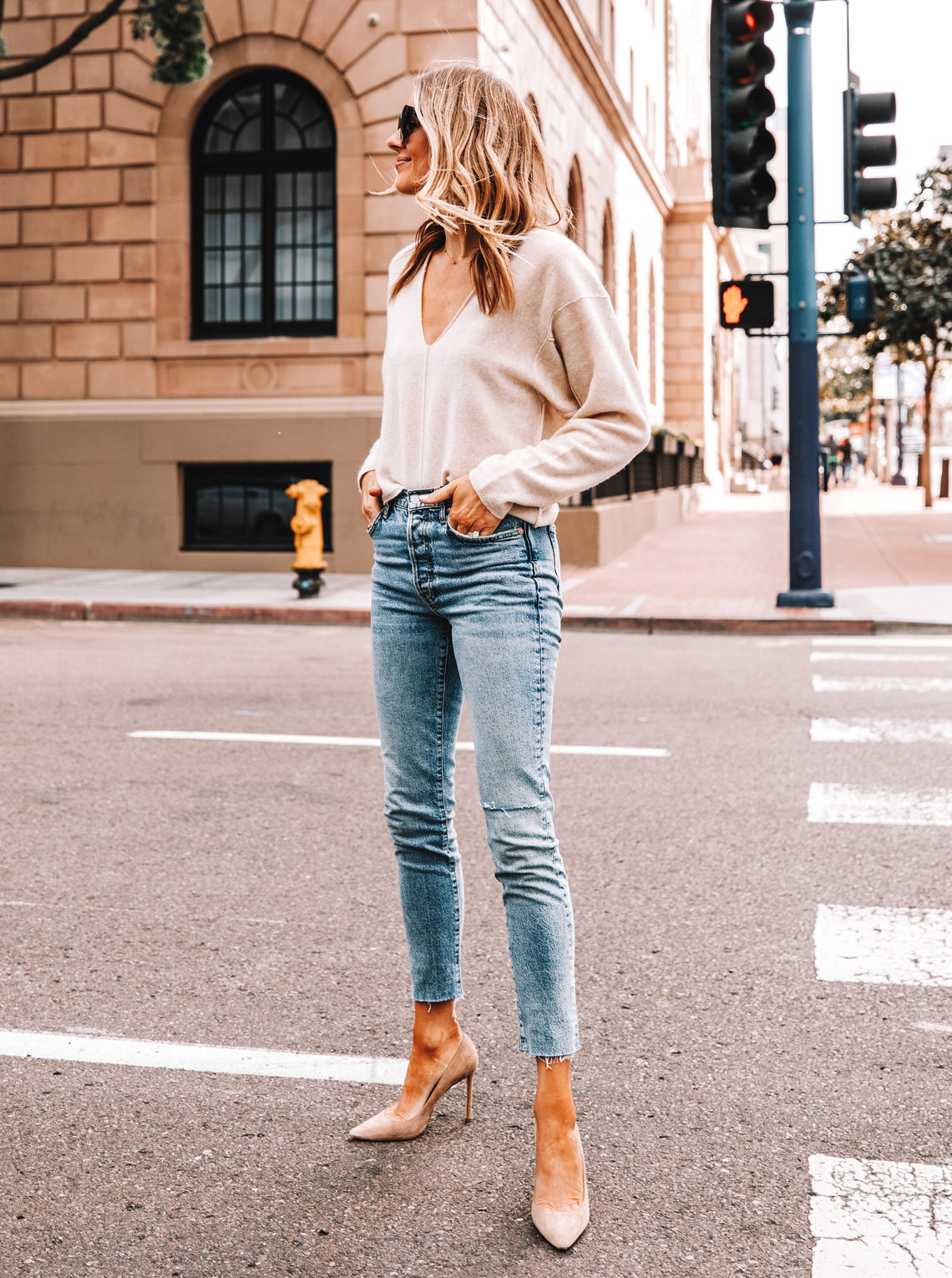 Fashion Jackson Wearing FP Cashmere Vneck Sweater Raw Hem Skinny Jeans Nude Pumps