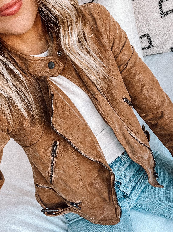 Fashion Jackson Wearing Free People Tan Faux Leather Moto Jacket