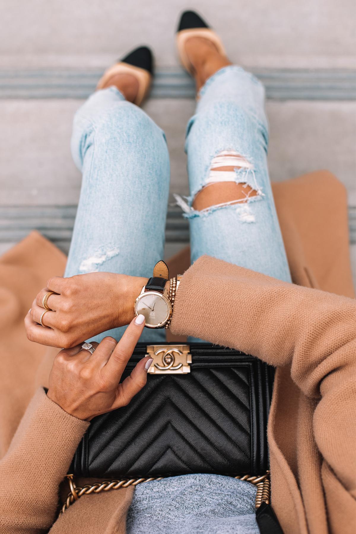 Fashion Jackson Wearing Garmin Vivomove Luxe Smart Watch Tan Coatigan Ripped Jeans Chanel Handbag