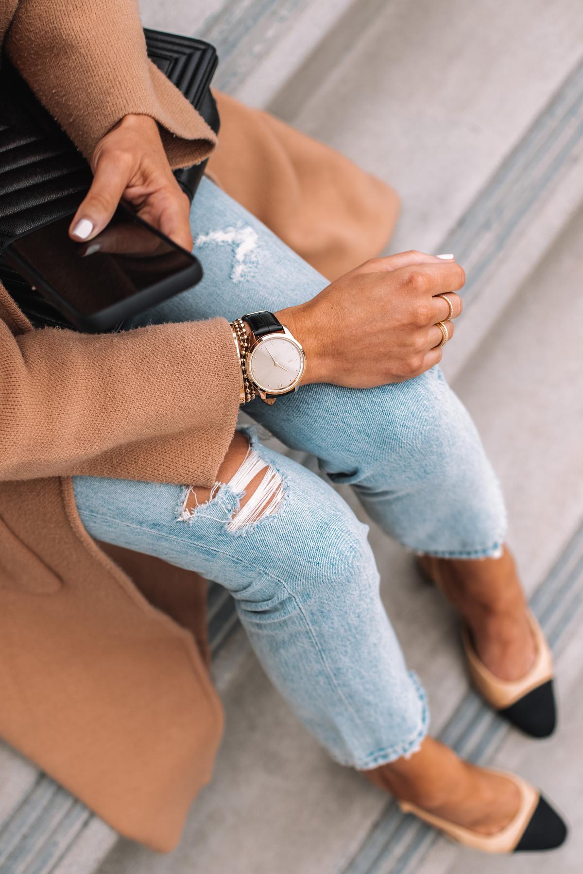 Fashion Jackson Wearing Garmin Vivomove Luxe Smart Watch Tan Coatigan Ripped Jeans Chanel Slingbacks