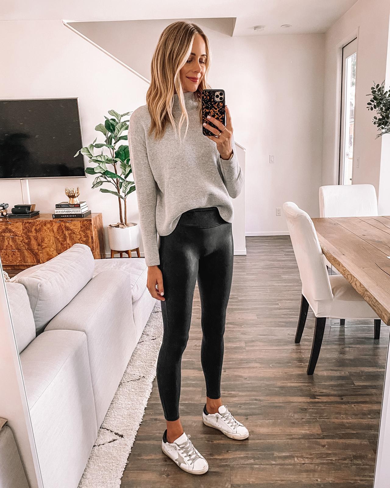 Fashion Jackson Wearing Grey Turtleneck Sweater Spanx Faux Leather Leggings Golden Goose Sneakers