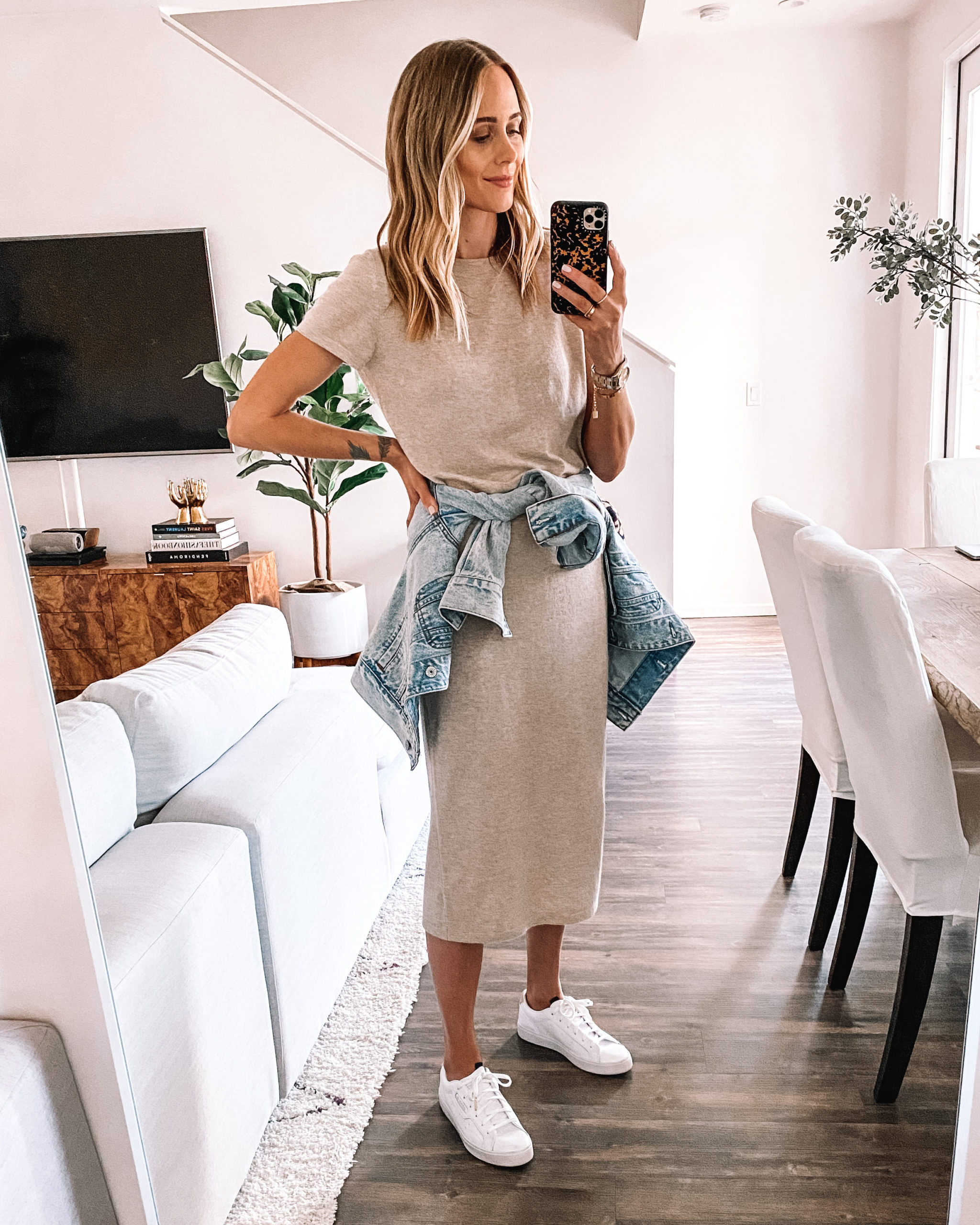 Fashion Jackson Wearing Jenni Kayne Tshirt Dress Denim Jacket adidas White Sneakers