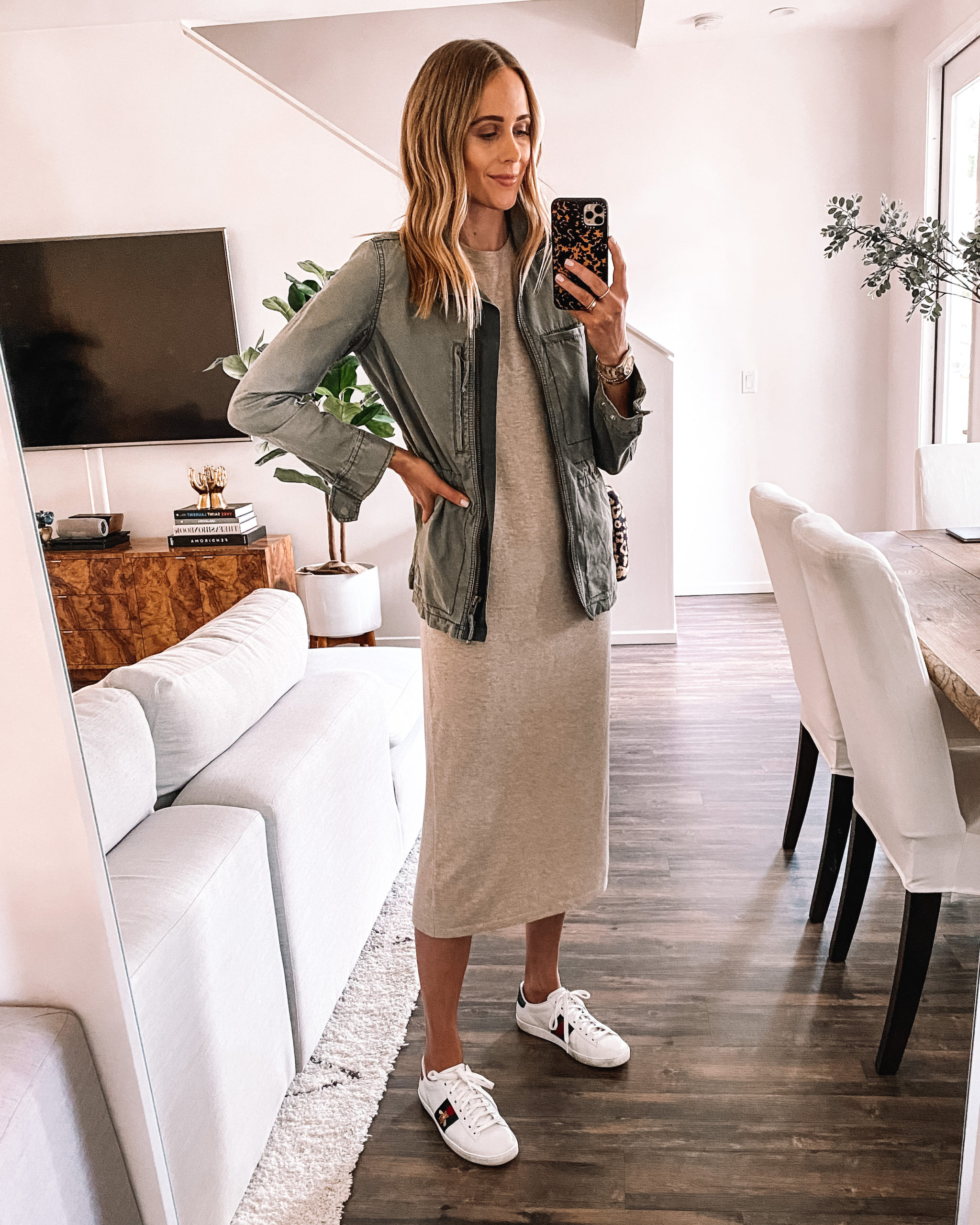 Fashion Jackson Wearing Jenni Kayne Tshirt Dress Green Utility Jacket Gucci Sneakers