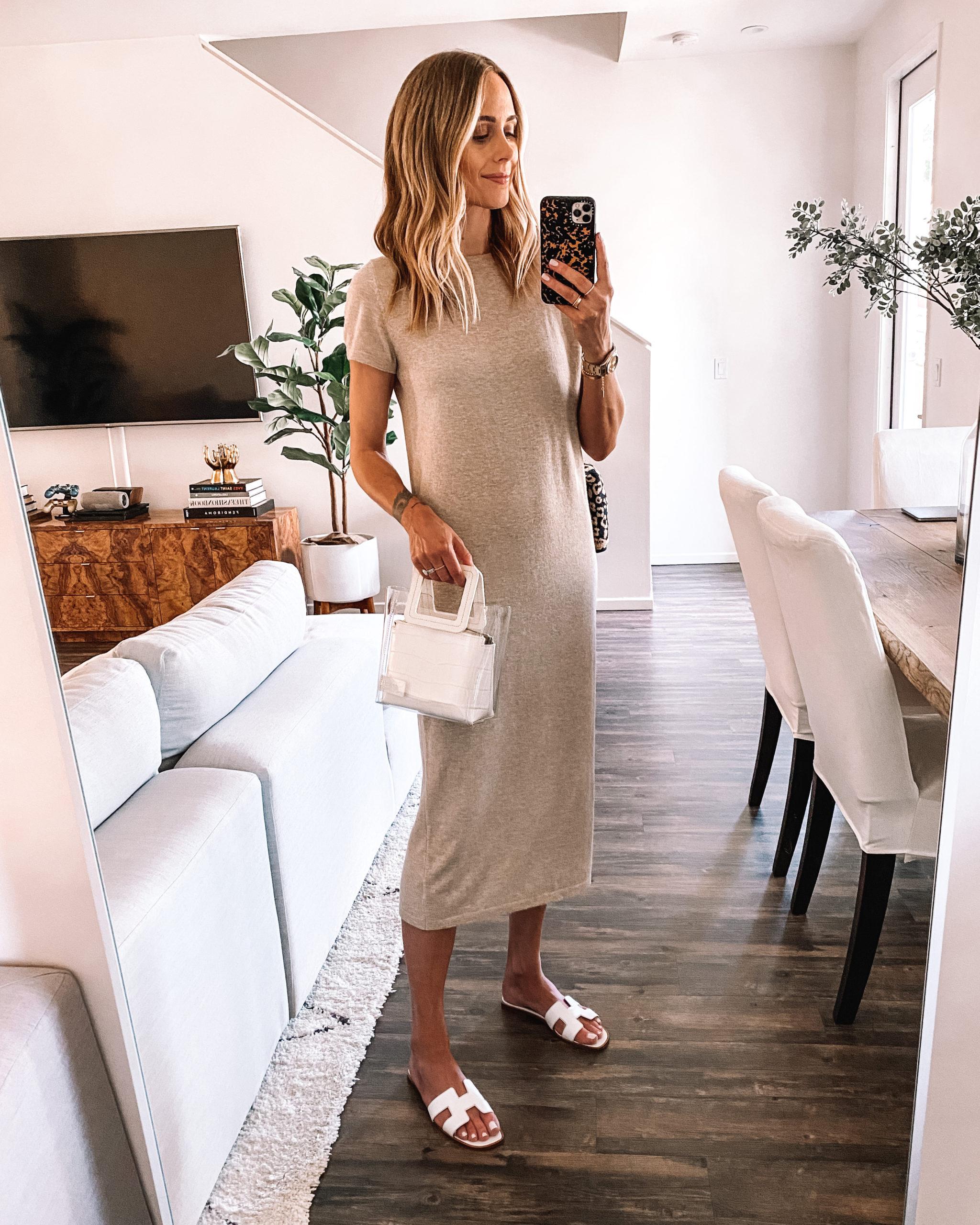 Fashion Jackson Wearing Jenni Kayne Tshirt Dress Sandals