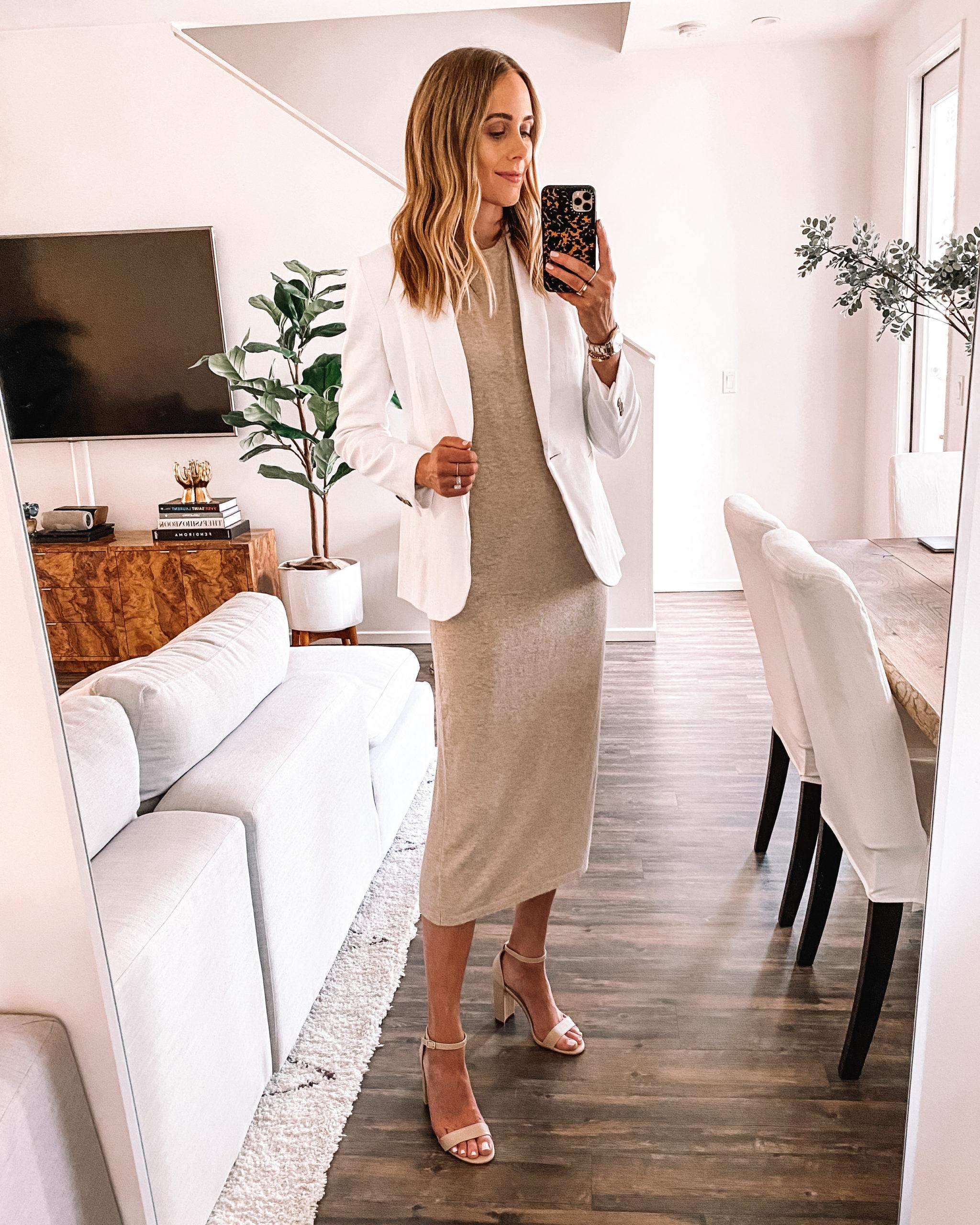 Fashion Jackson Wearing Jenni Kayne Tshirt Dress White Blazer Tan Heeled Sneakers