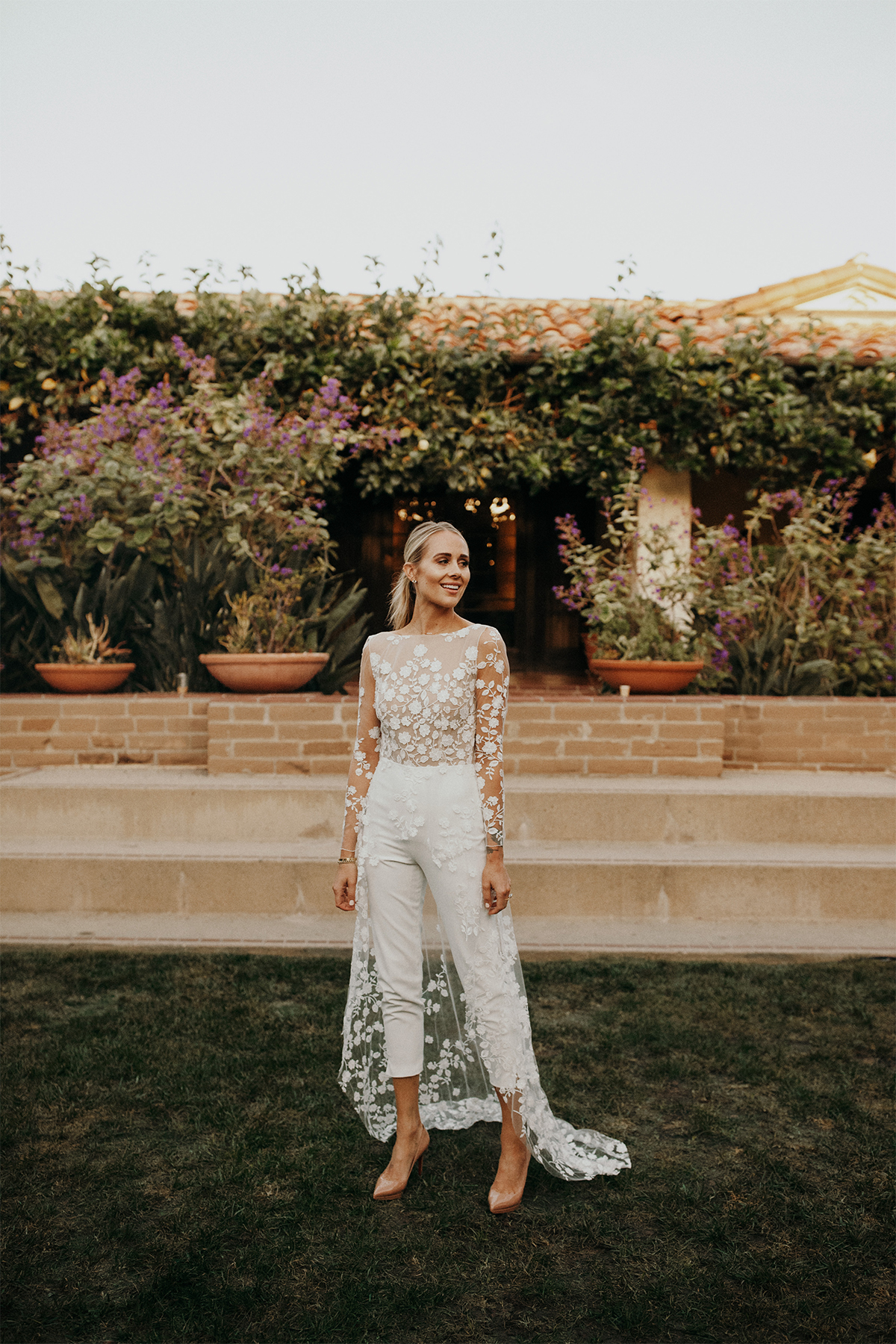 Rime Arodaky patsy white lace bridal jumpsuit wedding rehearsal dinner outfit, wedding weekend bridal outfit inspiration