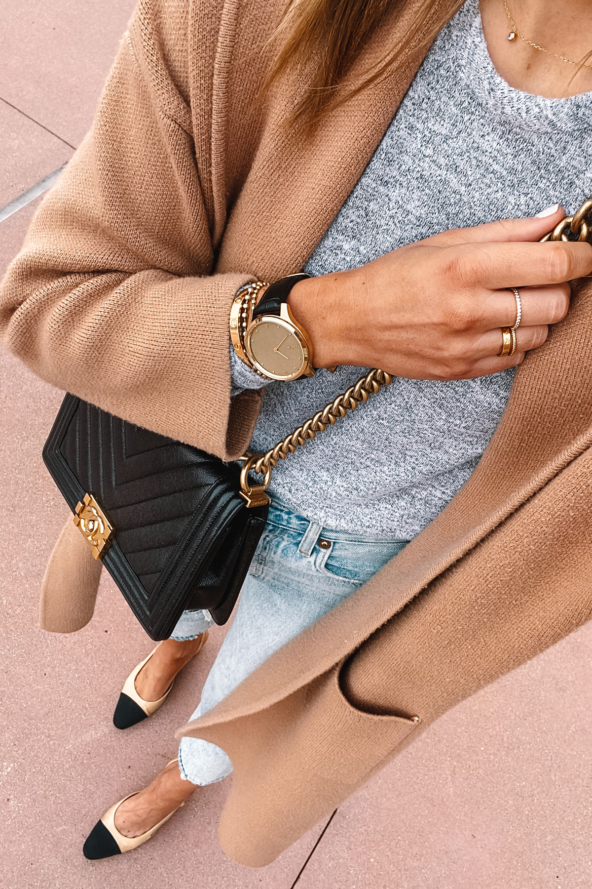 Fashion Jackson Wearing Tan Coatigan Grey T-shirt Light Wash Jeans Chanel Slingbacks Chanel Black Boy Bag Garmin Vivomove Luxe Watch Gold
