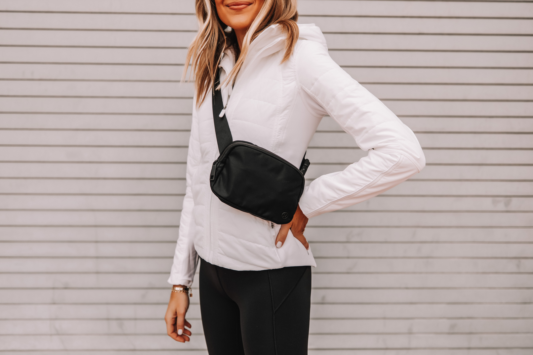 Fashion Jackson Wearing lululemon White Jacket Black Fanny Pack Workout Outfit